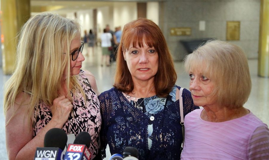 "From left, Stephanie Tabak, Karen Mezera and Donna Haggerton talk to the media Monday after a jury found Donnie Rudd guilty of murdering his wife, Noreen Kumeta, 45 years ago. ""We feel like our sister can finally rest in peace after 45 years,"" Haggerton said."