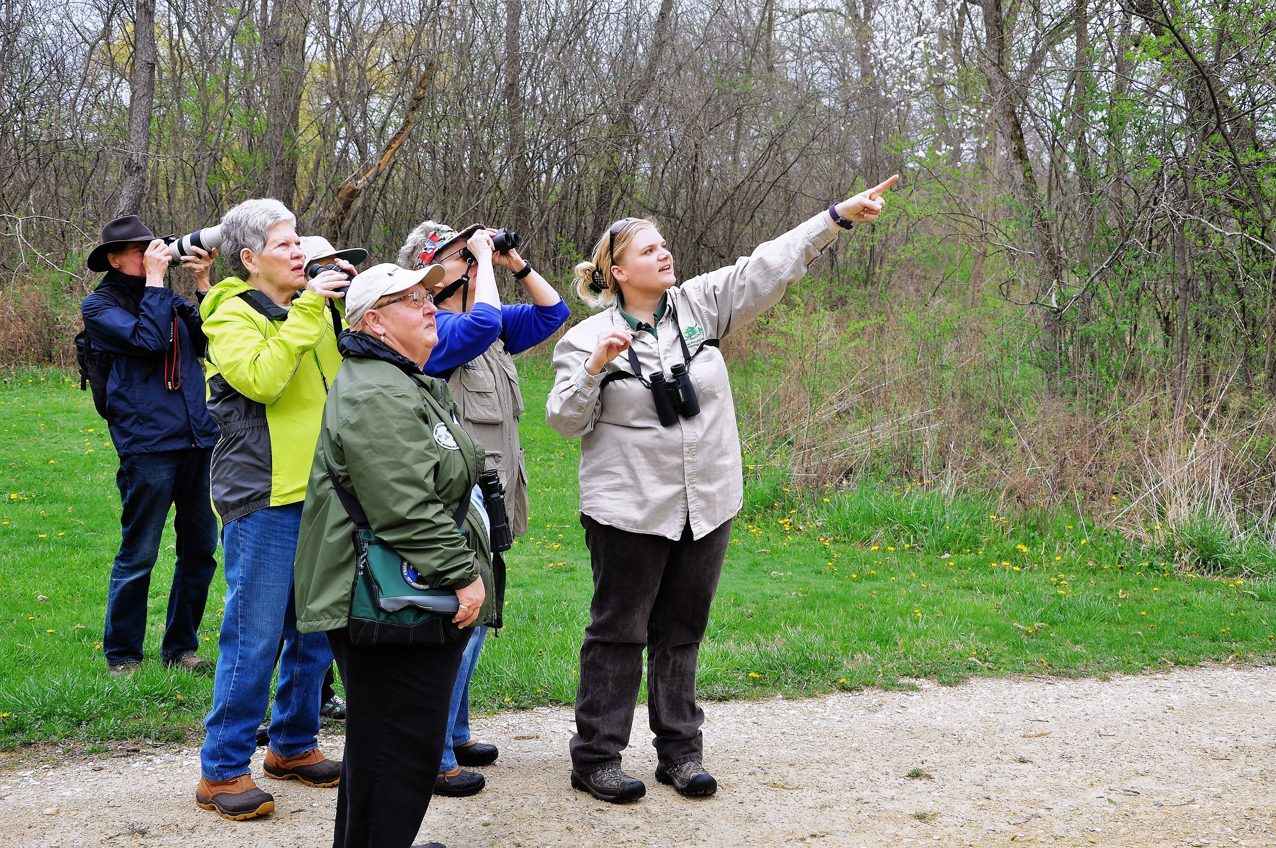 Naturalist Keriann Dubina leads the FullersBird Friday walks, a seasonal bird-watching program of the Forest Preserve District of DuPage County.