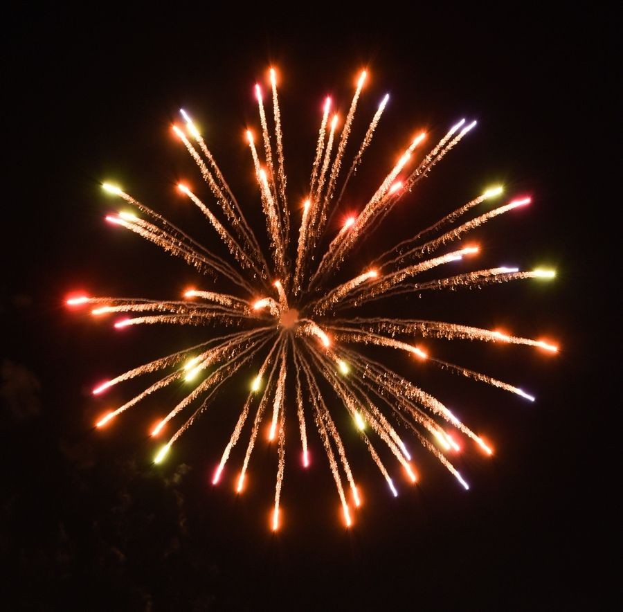 Suburban fireworks displays use a variety of different shells to achieve the desired colors and effect.