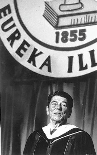 President Ronald Reagan gives a commencement speech to Eureka College students in 1982.