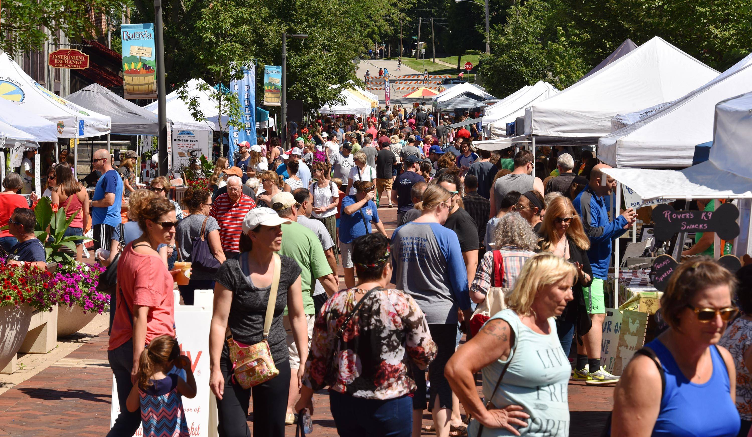 North River Street in Batavia was filled all morning with people strolling through the farmers market Saturday. The event is held every Saturday, 8 a.m. to noon, through Oct. 27.