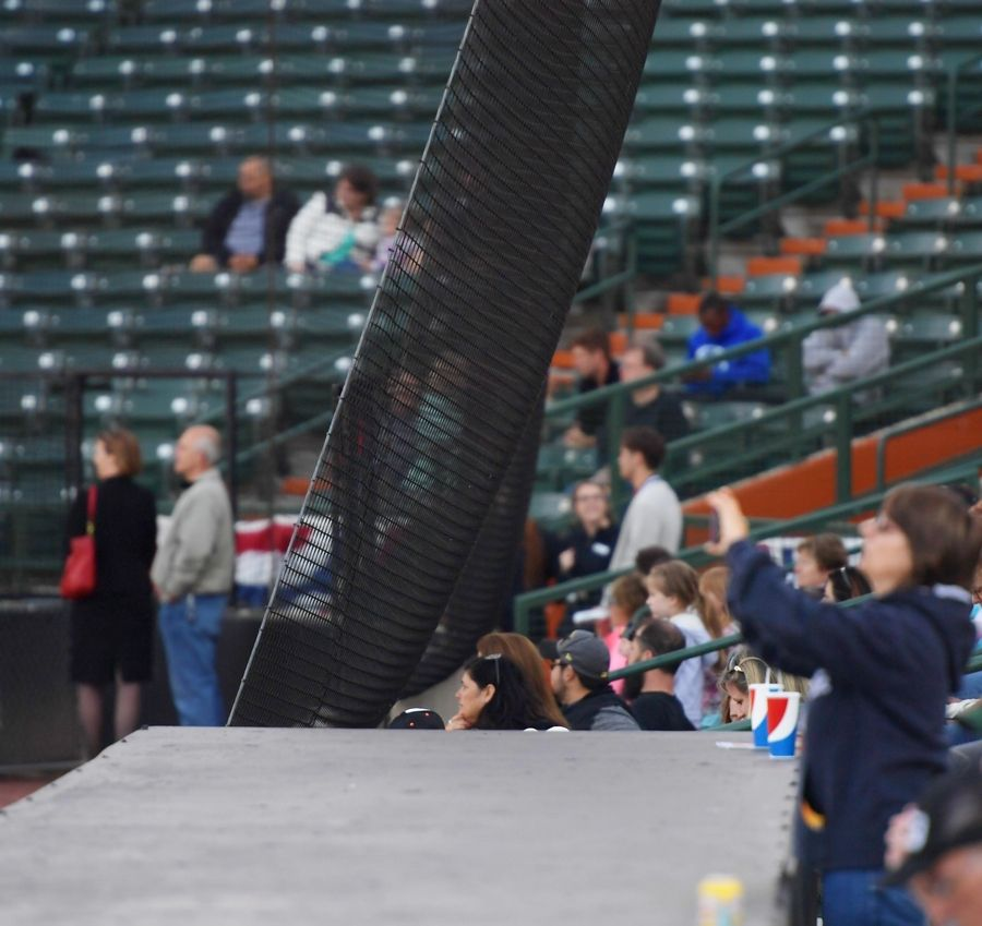 The safety netting currently extends to the start of each dugout at Boomers Stadium in Schaumburg, but new thinner netting is planned to stretch to the outer ends of the dugouts before the end of July.