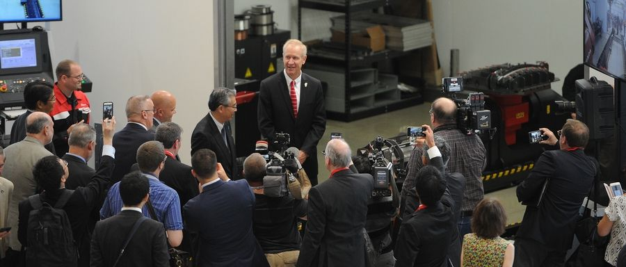 Gov. Bruce Rauner tours Amada America Inc. in Schaumburg on Tuesday.