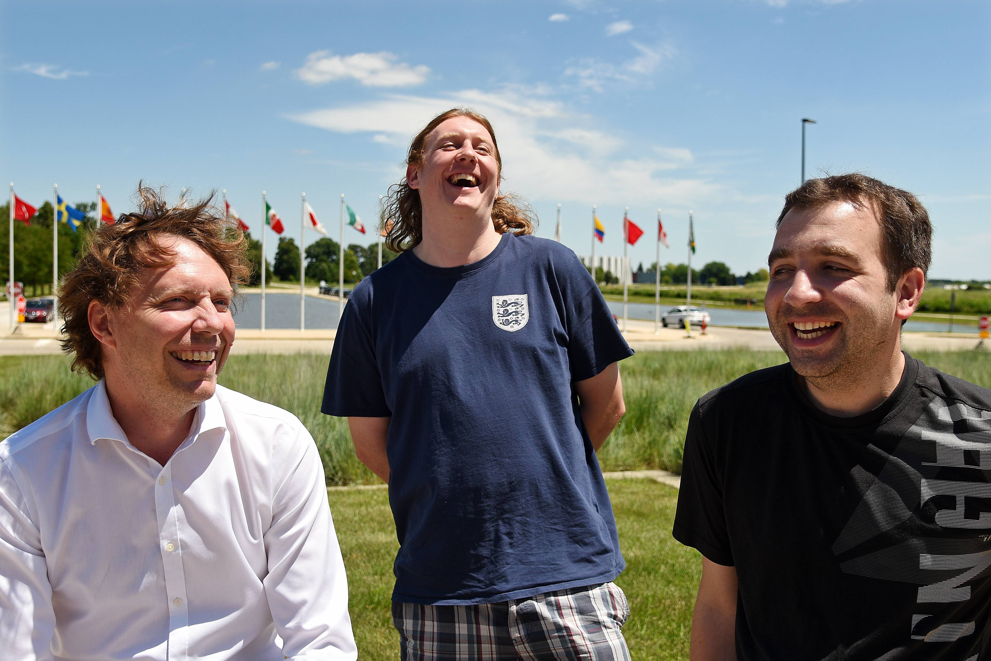 Television ratings for the World Cup might be lagging in the United States, but this international trio of Fermilab scientists couldn't be more pumped about this week's soccer action. Michel Sorel, left, is rooting for Belgium. Mike Wallbank, center, hopes his England triumphs. Vincent Roger, right, thinks his homeland of France could win it all.