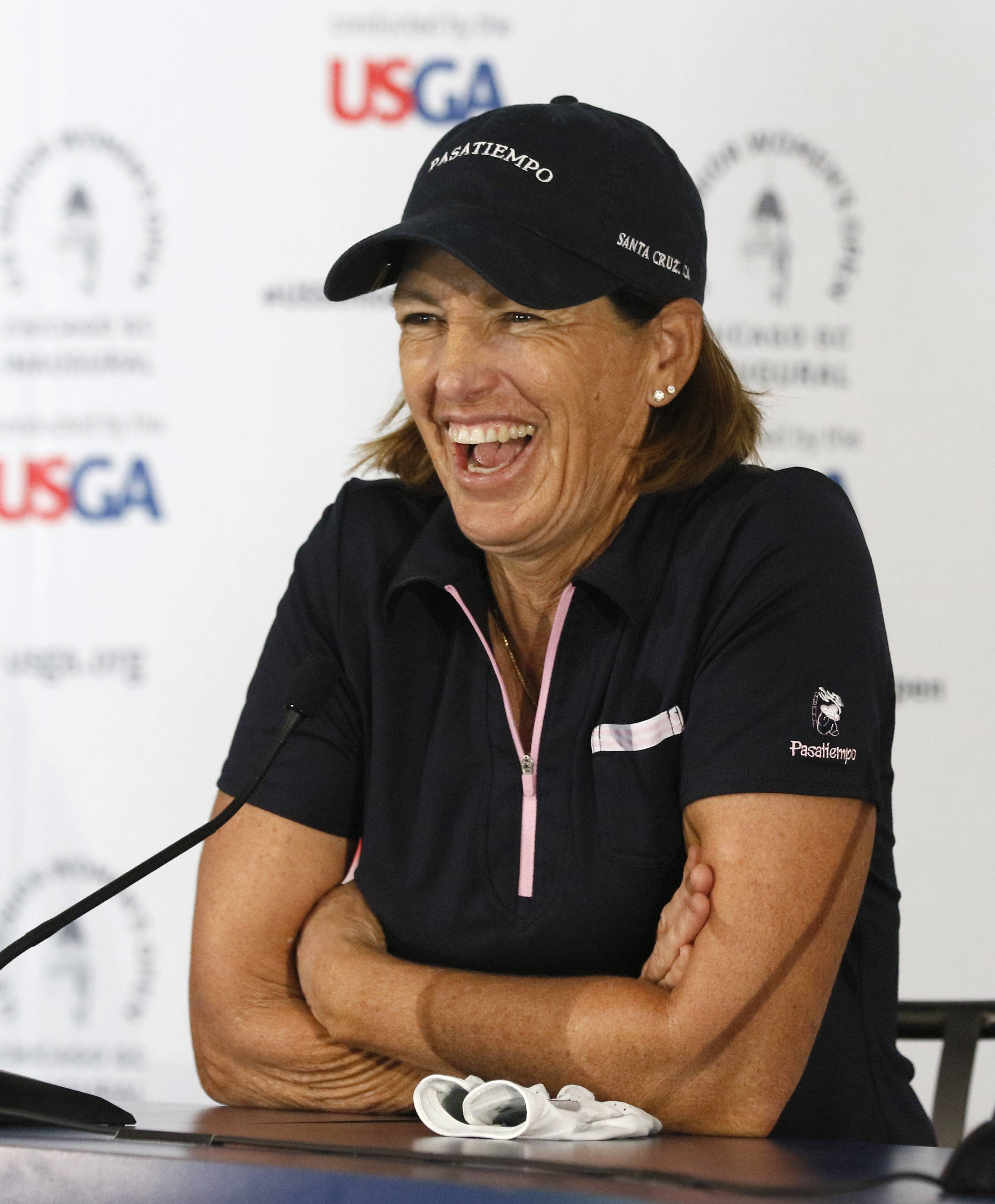 Daniel White/dwhite@dailyherald.comGolfer Juli Inkster talks about the inaugural U.S. Senior Women's Open during a news conference at the Chicago Golf Club in Wheaton.