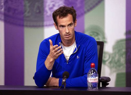 Andy Murray talks to the media during a press conference at The All England Lawn Tennis and Croquet Club in Wimbledon, London, England, in this photo dated Saturday June 30, 2018. It is announced Sunday July 1, 2018, that two-time champion Andy Murray has pulled out of the Wimbledon championships because of a bad hip. Wimbledon is scheduled to start Monday July 2. (AELTC Pool via AP)