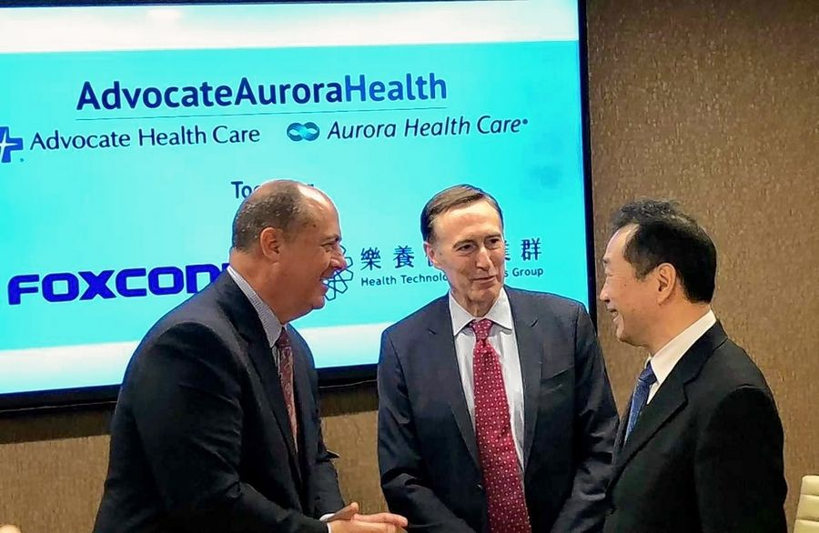 Jim Skogsbergh and Dr. Nick Turkal, co-presidents and co-CEOs of Advocate Aurora Health, and Leonard Wu, CEO of Foxconn Health Technology Business Group, talk about a new partnership.