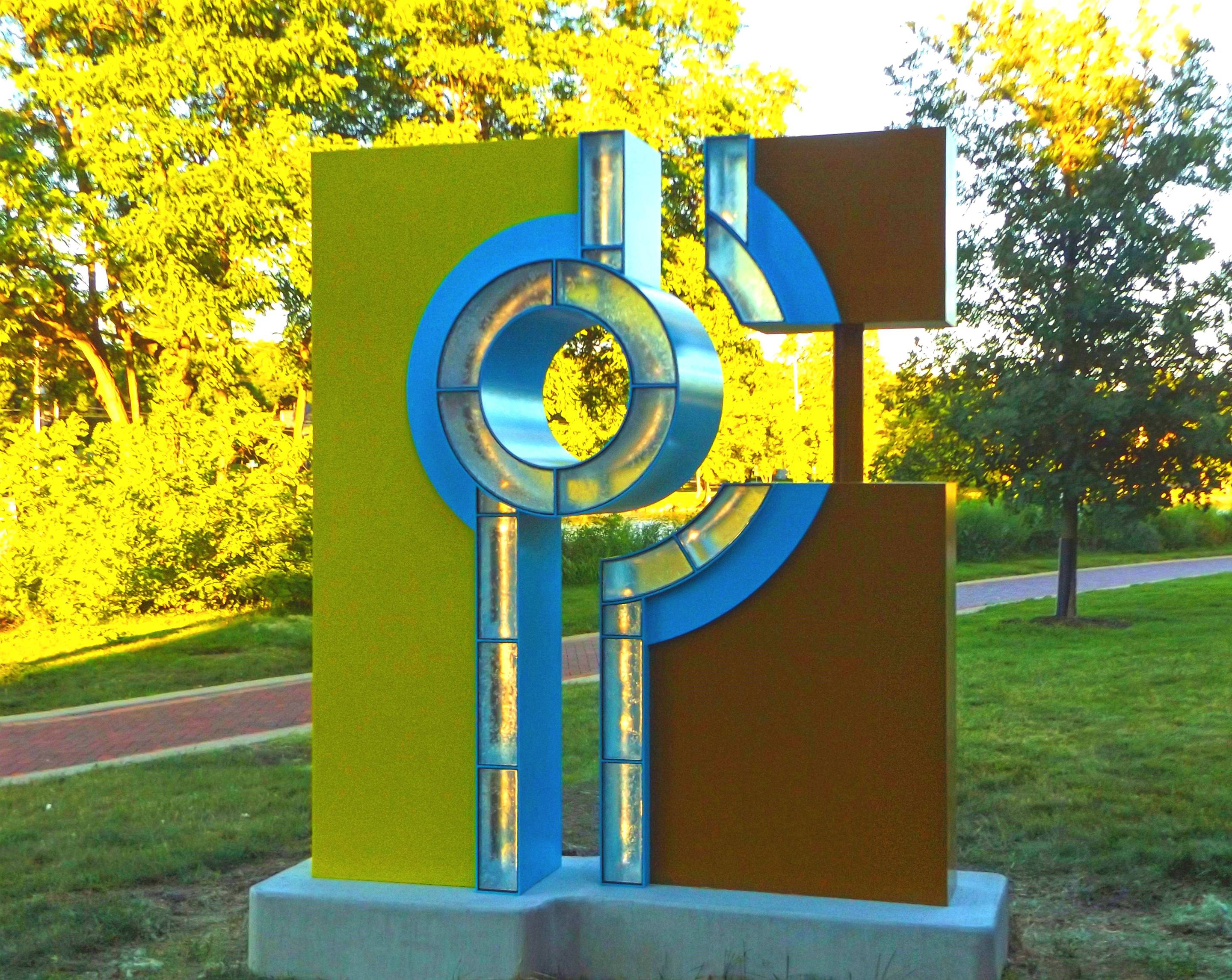 """The Key,"" a sculpture by artist Guy Bellaver, has been installed on the west bank of the Riverwalk, immediately south of Indiana Street, in St. Charles."