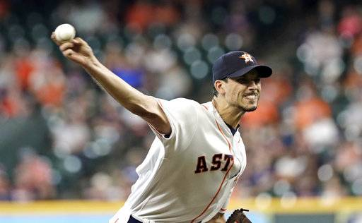 Houston Astros starting pitcher Charlie Morton throws against the Oakland Athletics during the first inning of a baseball game Thursday, July 12, 2018, in Houston.