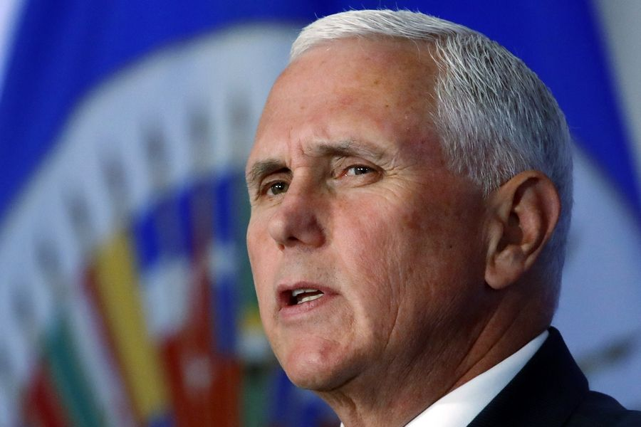 Vice President Mike Pence, shown during a speech in Washington last May, appears today in Rosemont in an event sponsored by America First Polities.