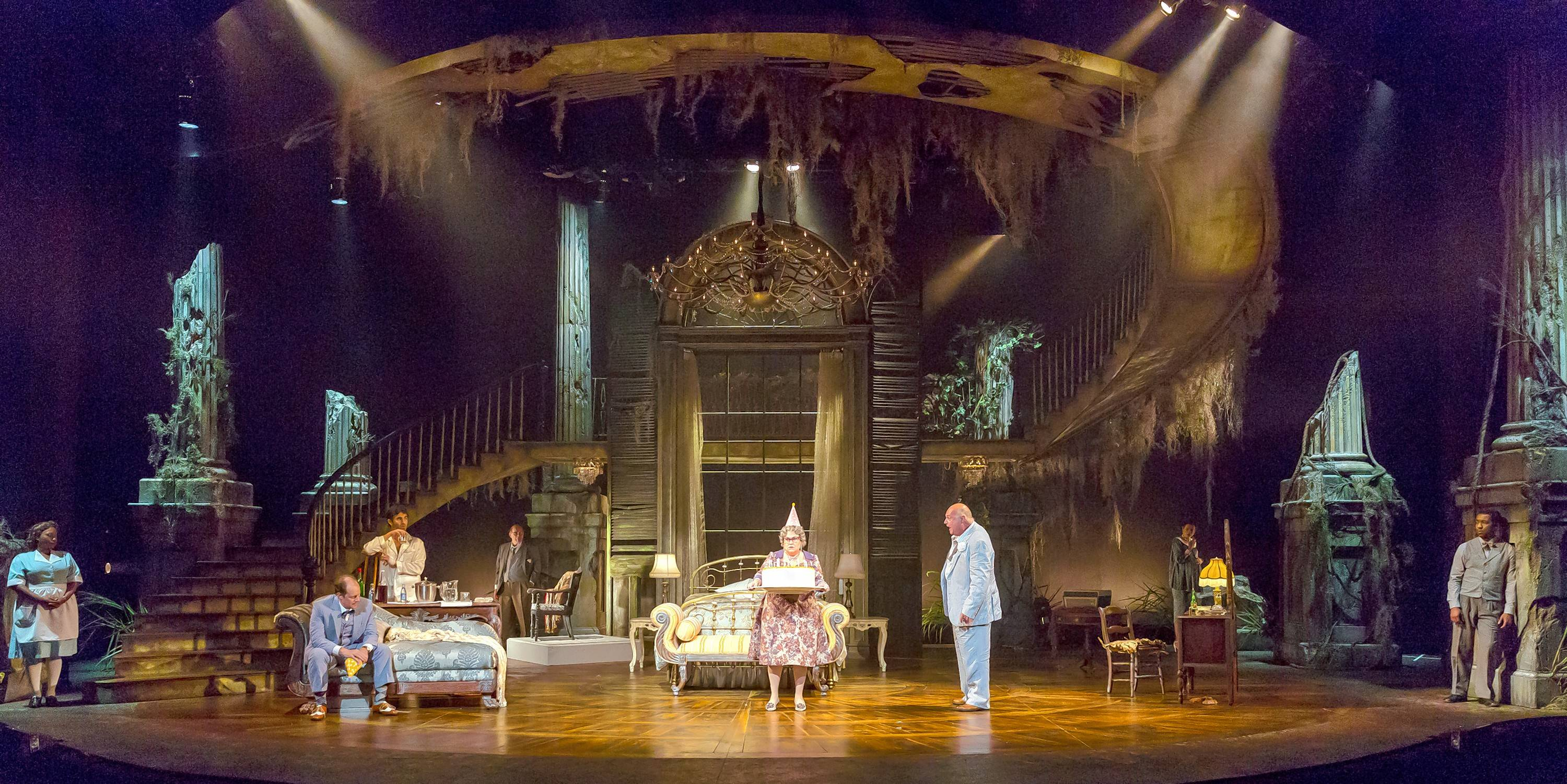 """Marcia Milgrom Dodge's impressive revival of Tennessee Williams' """"Cat on a Hot Tin Roof"""" for Drury Lane Theatre boasts Kevin Depinet's grand set and evocative sound and lighting by Ray Nardelli and Driscoll Otto."""