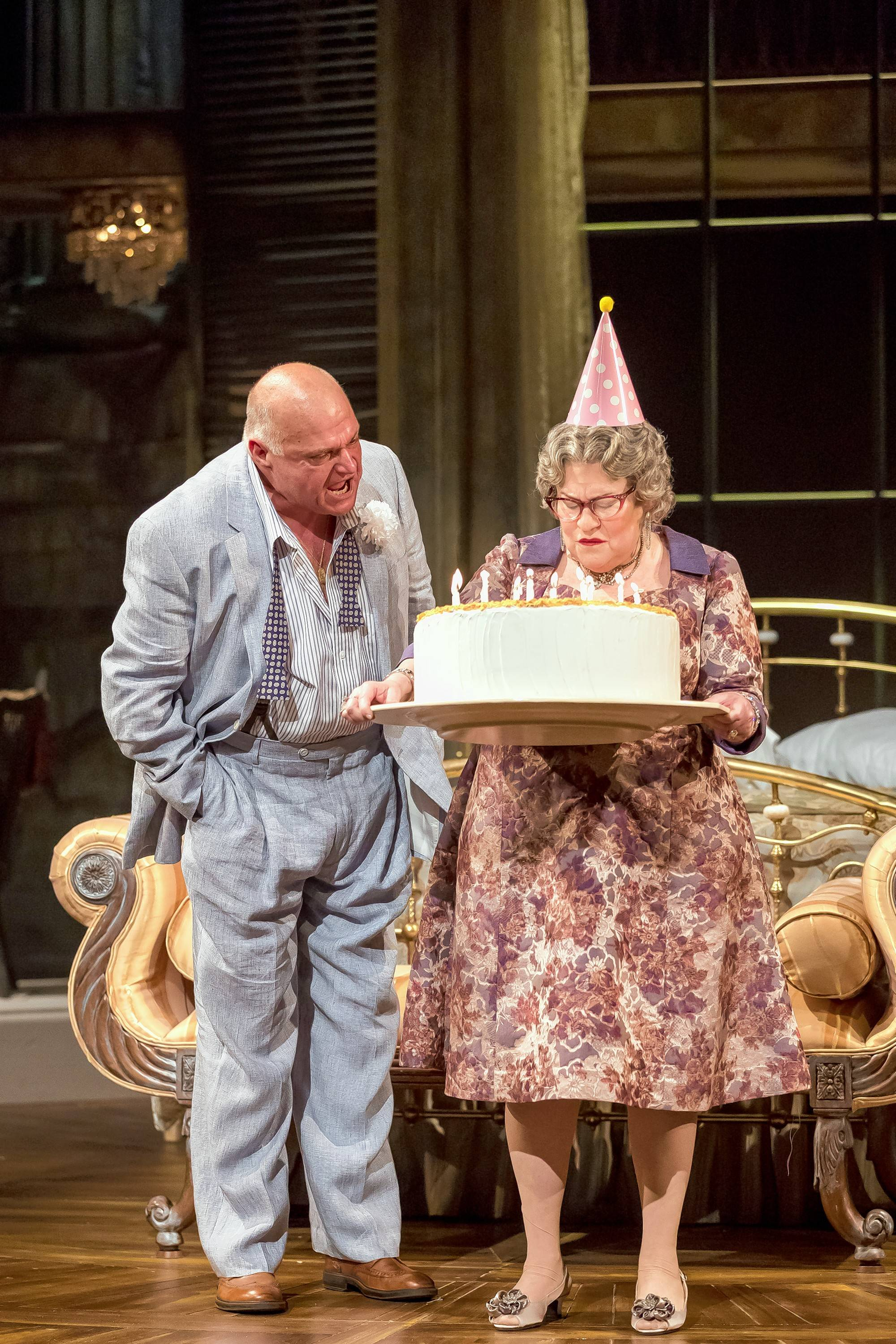 """Big Daddy (Matt DeCaro) berates his long-suffering wife (Cindy Gold) for her overly enthusiastic birthday celebration in Drury Lane Theatre's revival of Tennessee Williams' Pulitzer Prize-winning """"Cat on a Hot Tin Roof."""""""