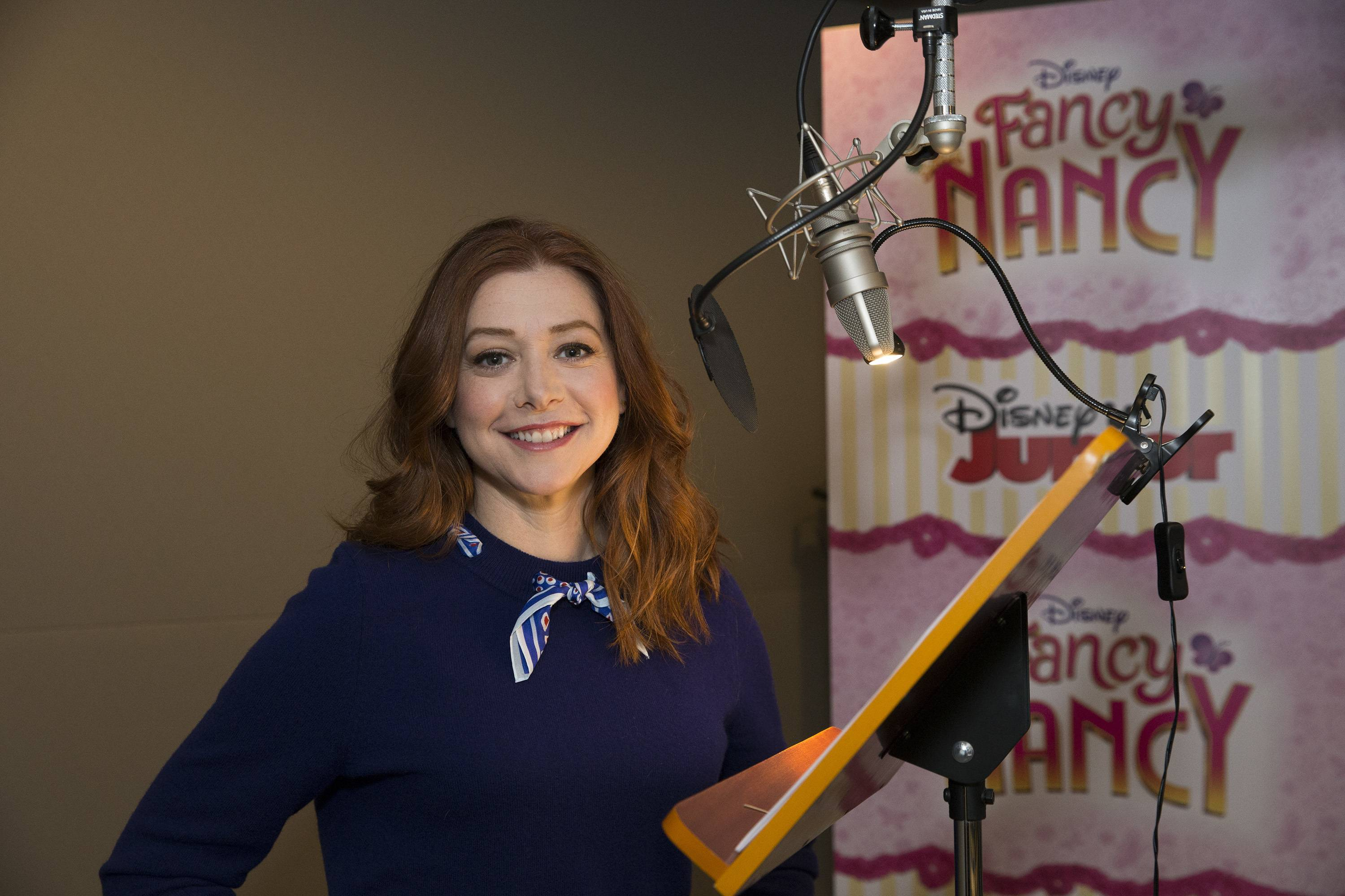 "Alyson Hannigan records the voice of the character Claire Clancey for Disney Junior's animated series ""Fancy Nancy"""
