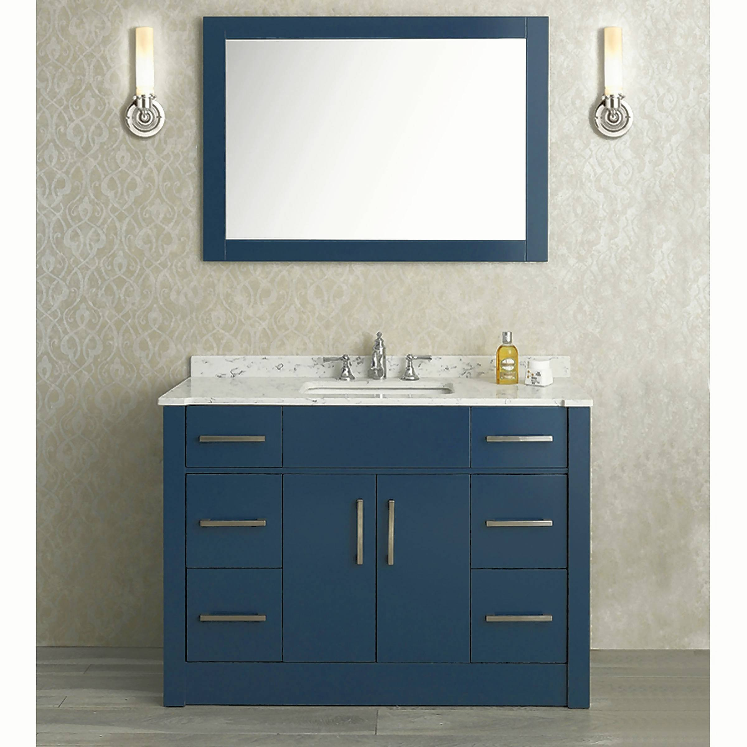 A midnight blue vanity from Ariel's Radcliff collection is inspired by Neo-New England traditional styling with a modern twist.
