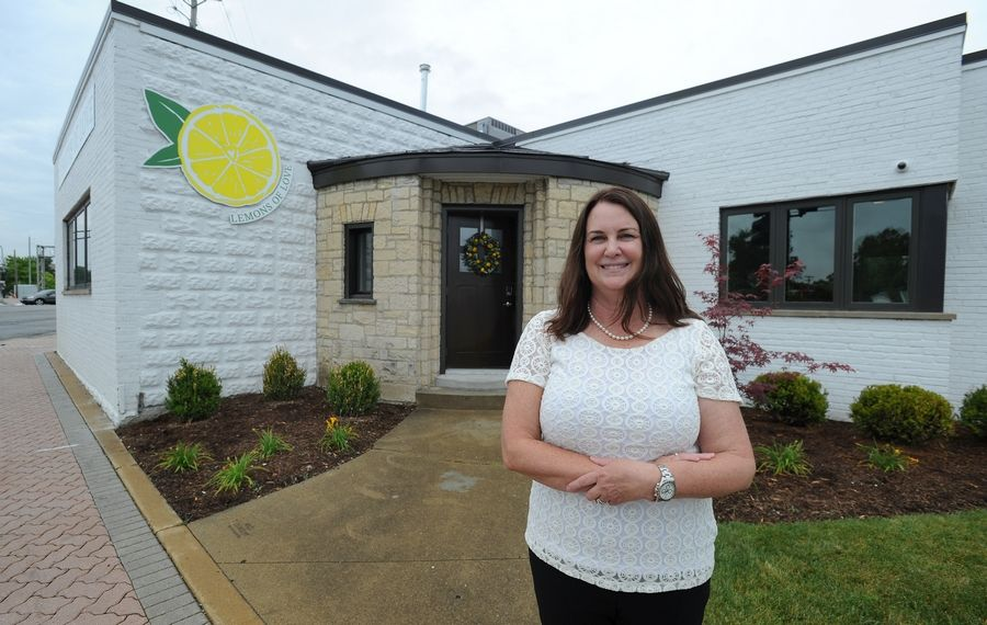 The founder of Lemons of Love and a 2014 cancer survivor, Jill Swanson, shows off her group's new Cancer Resource Center Saturday at Northwest Highway and Central Road. The center will offer services to patients, survivors, and caregivers.