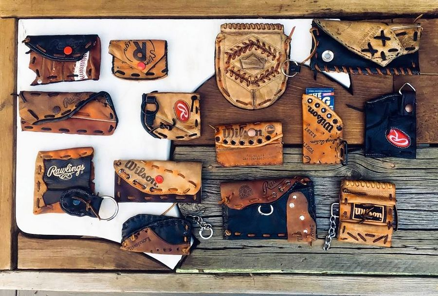 Russ Riendeau of Lake Barrington uses baseball gloves to create wallets, business card holders and other accessories.
