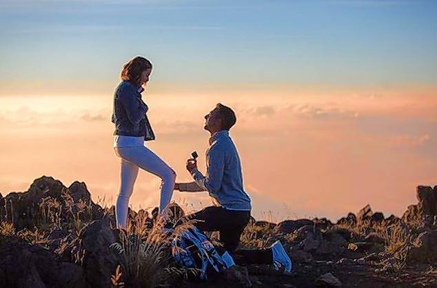 A romantic sunset atop a Hawaiian volcano was the setting of a marriage proposal over the weekend to Cheryl Scott, 33, meteorologist at ABC-owned WLS-Channel 7.