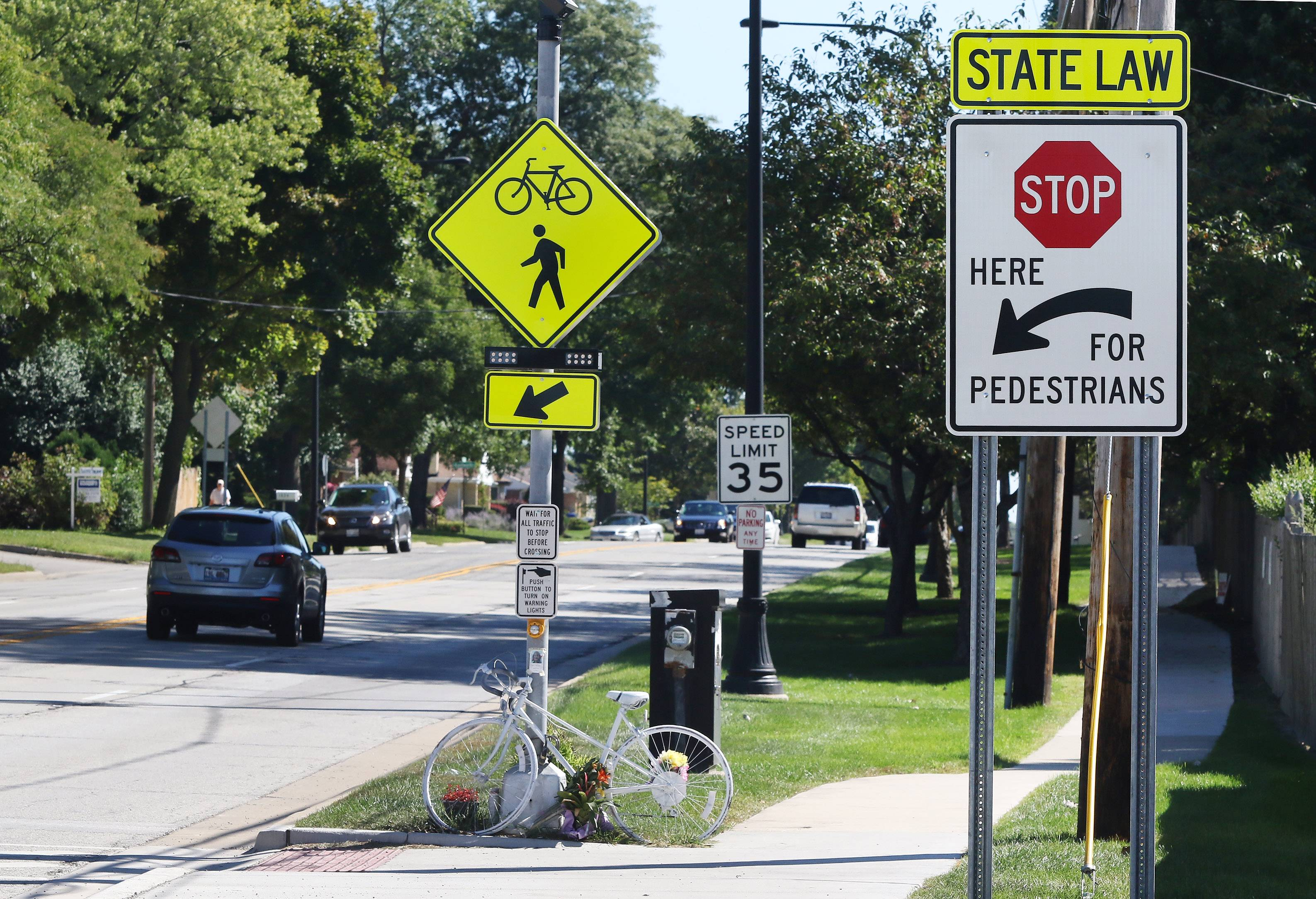 A bicycle was left as a memorial for months at the pedestrian crosswalk on Central Road near Weller Lane in Mount Prospect, where a mother of five was struck in June 2016 and later died.