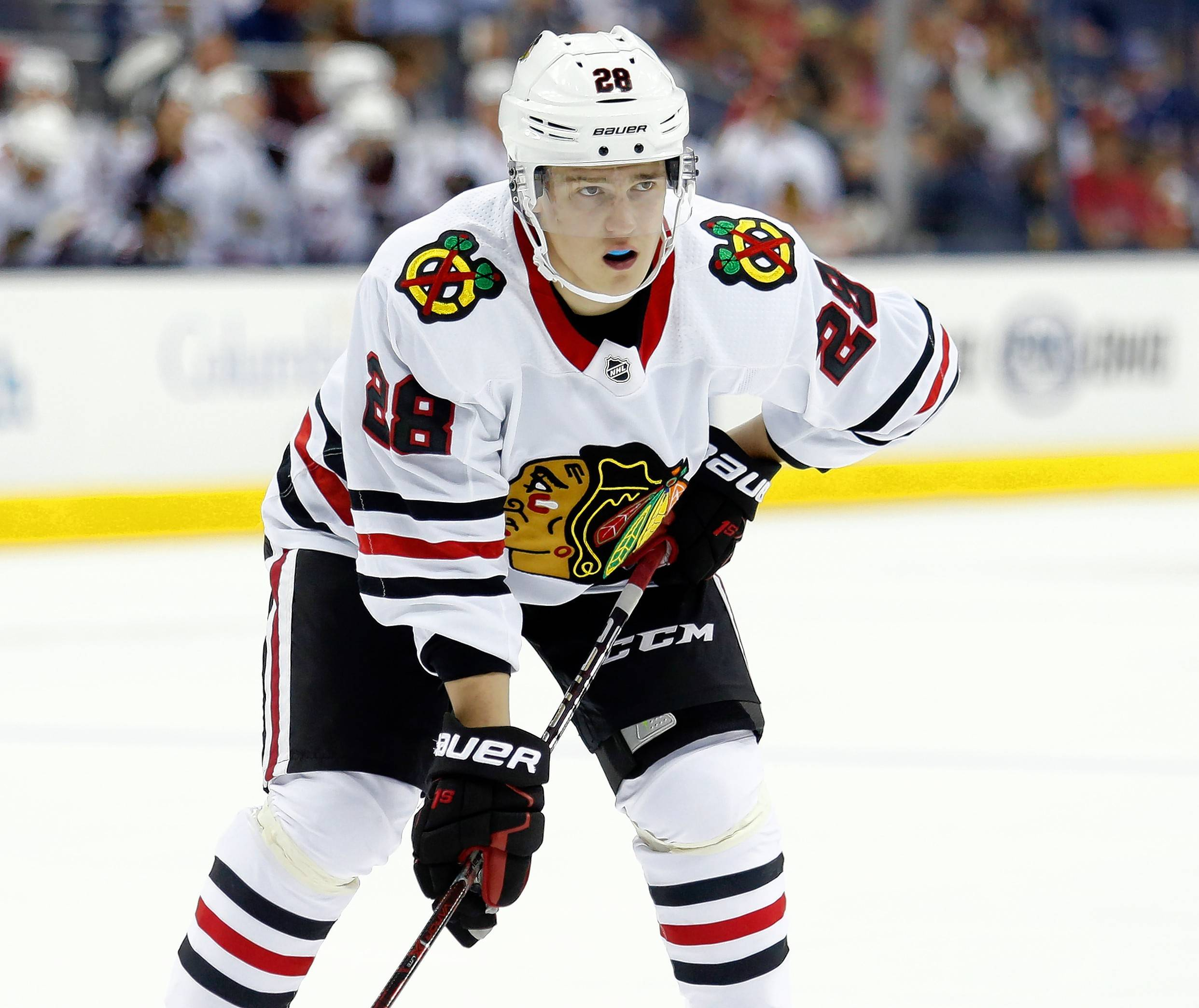 Chicago Blackhawks defenseman Henri Jokiharju, of Finland, is seen against the Columbus Blue Jackets during a preseason NHL hockey game in Columbus, Ohio, Tuesday, Sept. 19, 2017. (AP Photo/Paul Vernon)