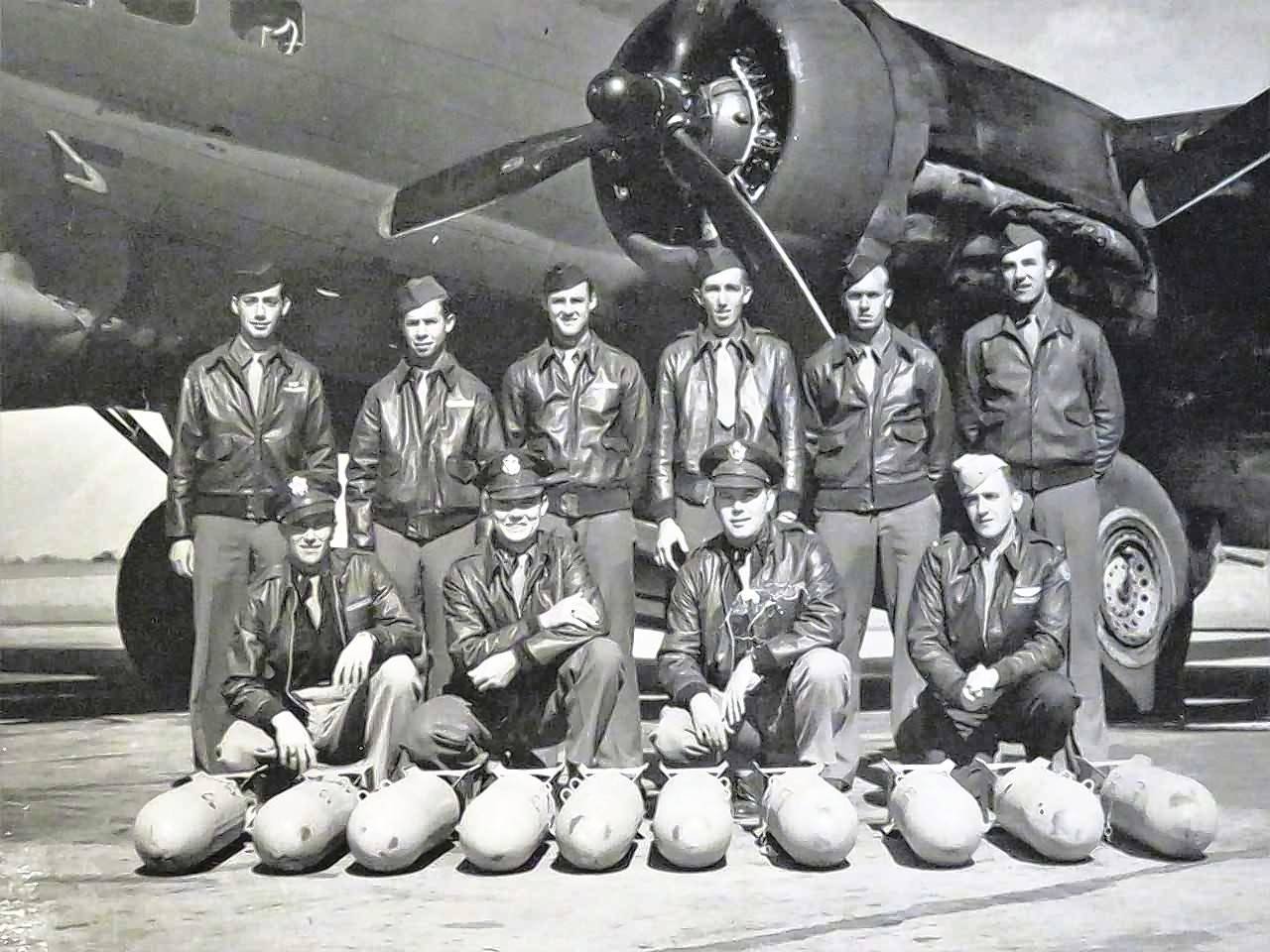 Chuck Wayman, first row, third from left, with his crew in front of a B-17 during World War II. Wayman, a Des Plaines resident, died in 2000.