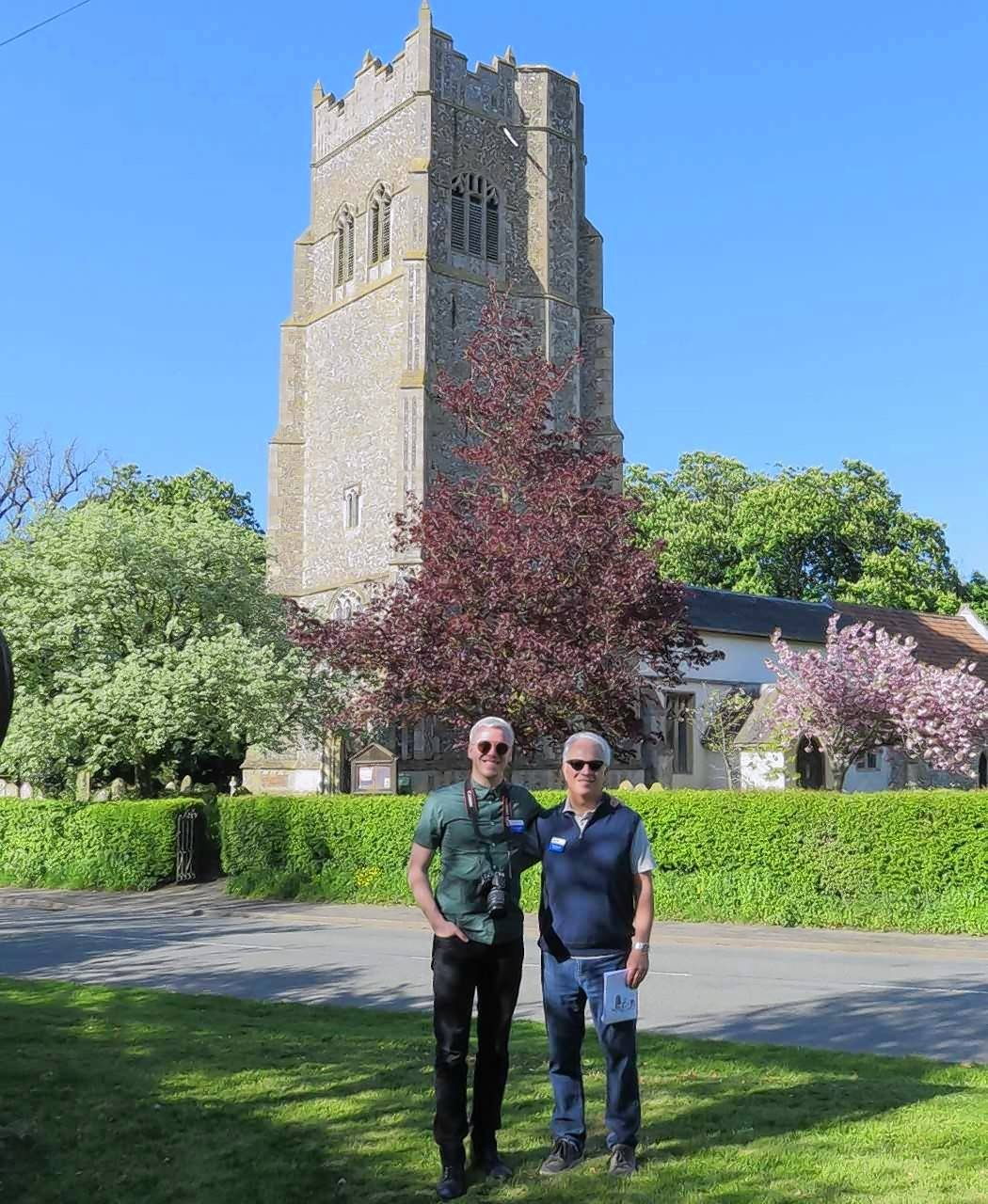 Alex and Tim Wayman in front of Parish Church of St. Mary on 95th base. Chuck Wayman often visited this church while he was stationed in England during World War II.