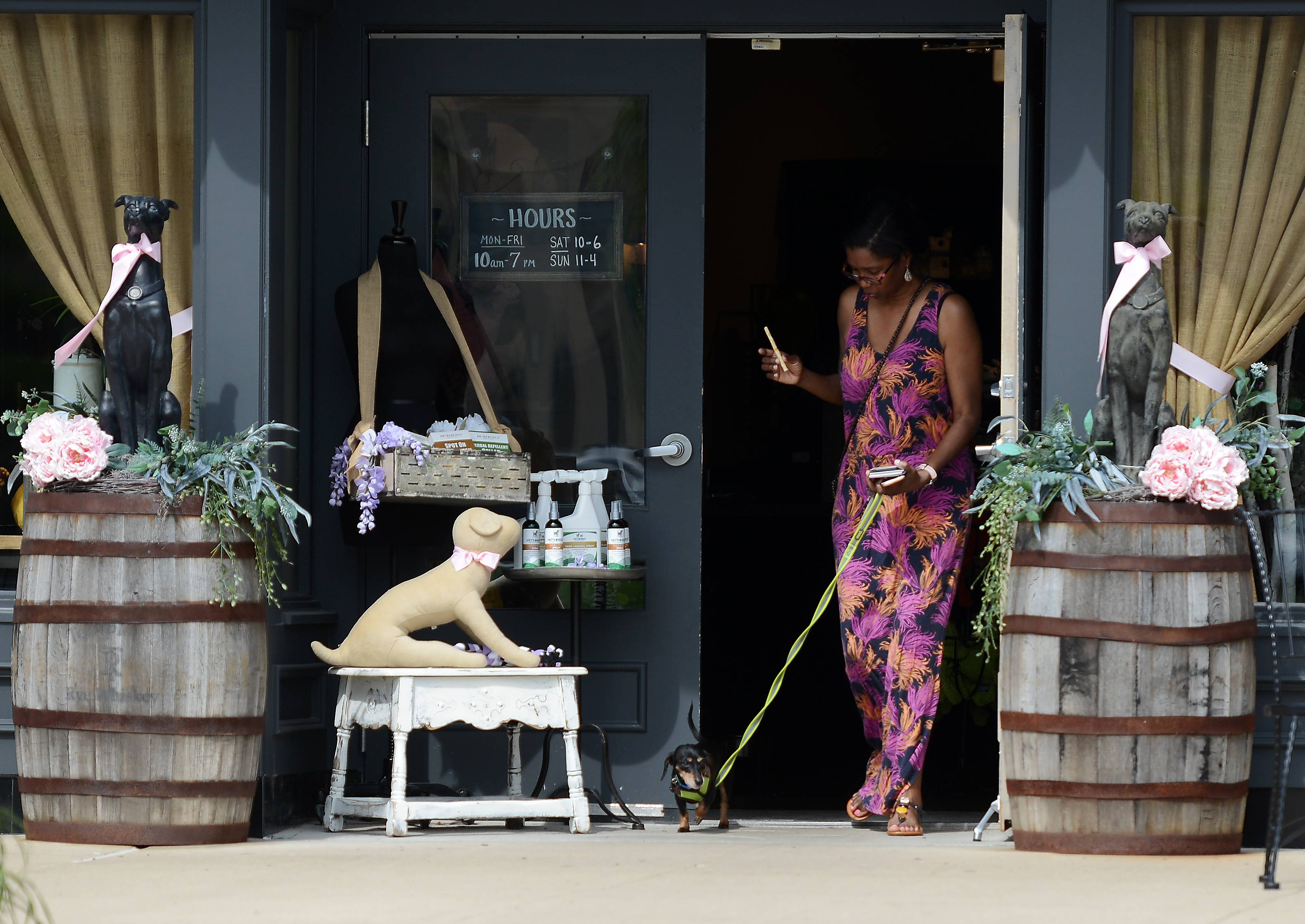 Kathy-Ann Pegues of Geneva and her dog Velvet come out of Wet Nose at Geneva Commons. In 30 days, Geneva businesses that want to can posts signs allowing pets, though state law will still prohibit people from bringing pets into restaurants.