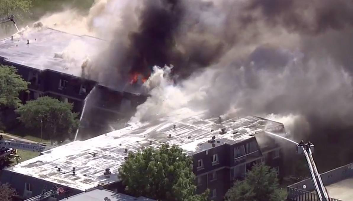 Firefighters battled a five-alarm fire Wednesday in an apartment complex on MacIntosh Court in Prospect Heights.
