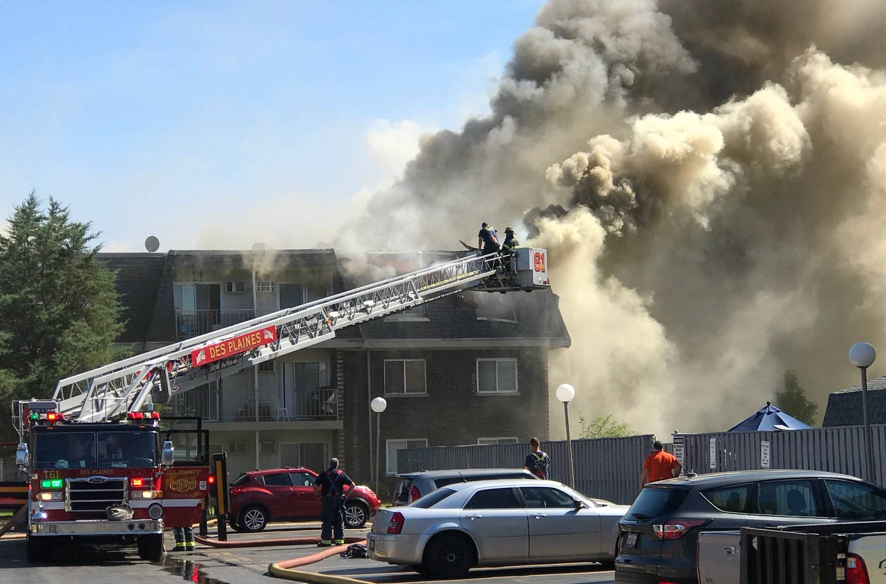 A five-alarm fire tore through a Prospect Heights apartment complex Wednesday afternoon, leaving many residents homeless and keeping firefighters from across the suburbs busy for hours.