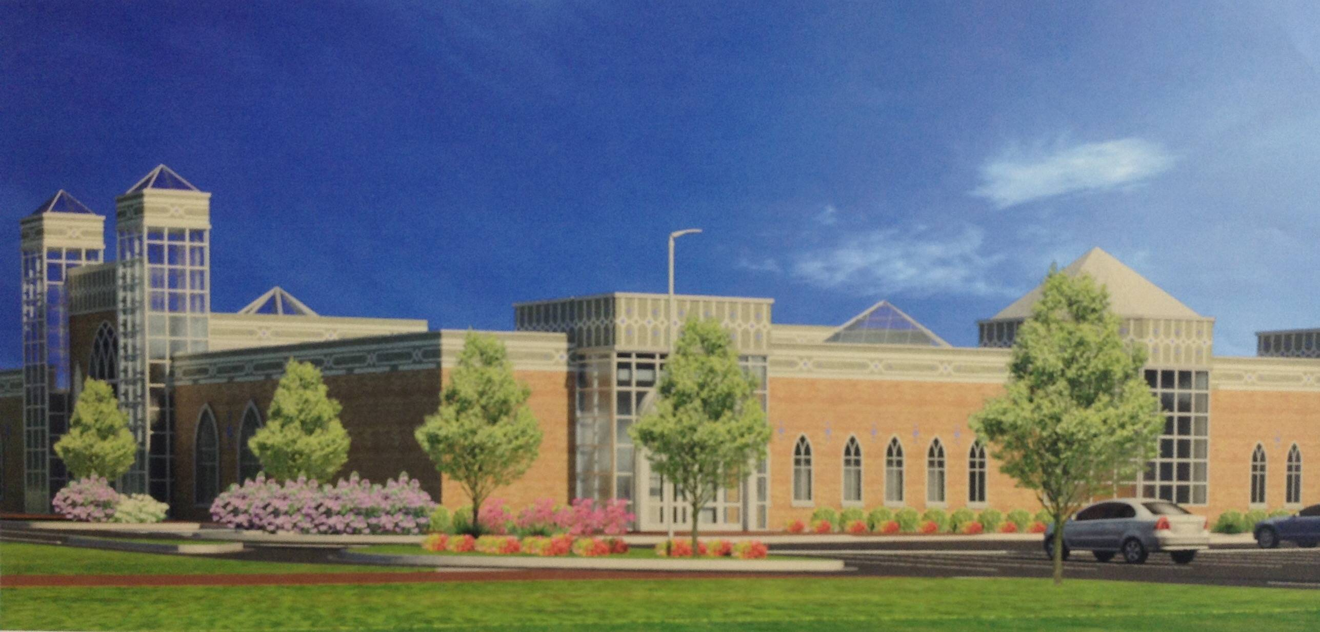 A rendering shows the proposed renovation of a building at 1200 Hicks Road in Rolling Meadows into a new 47,534-square-foot mosque. Aldermen weighed in on the proposal for the first time Tuesday.