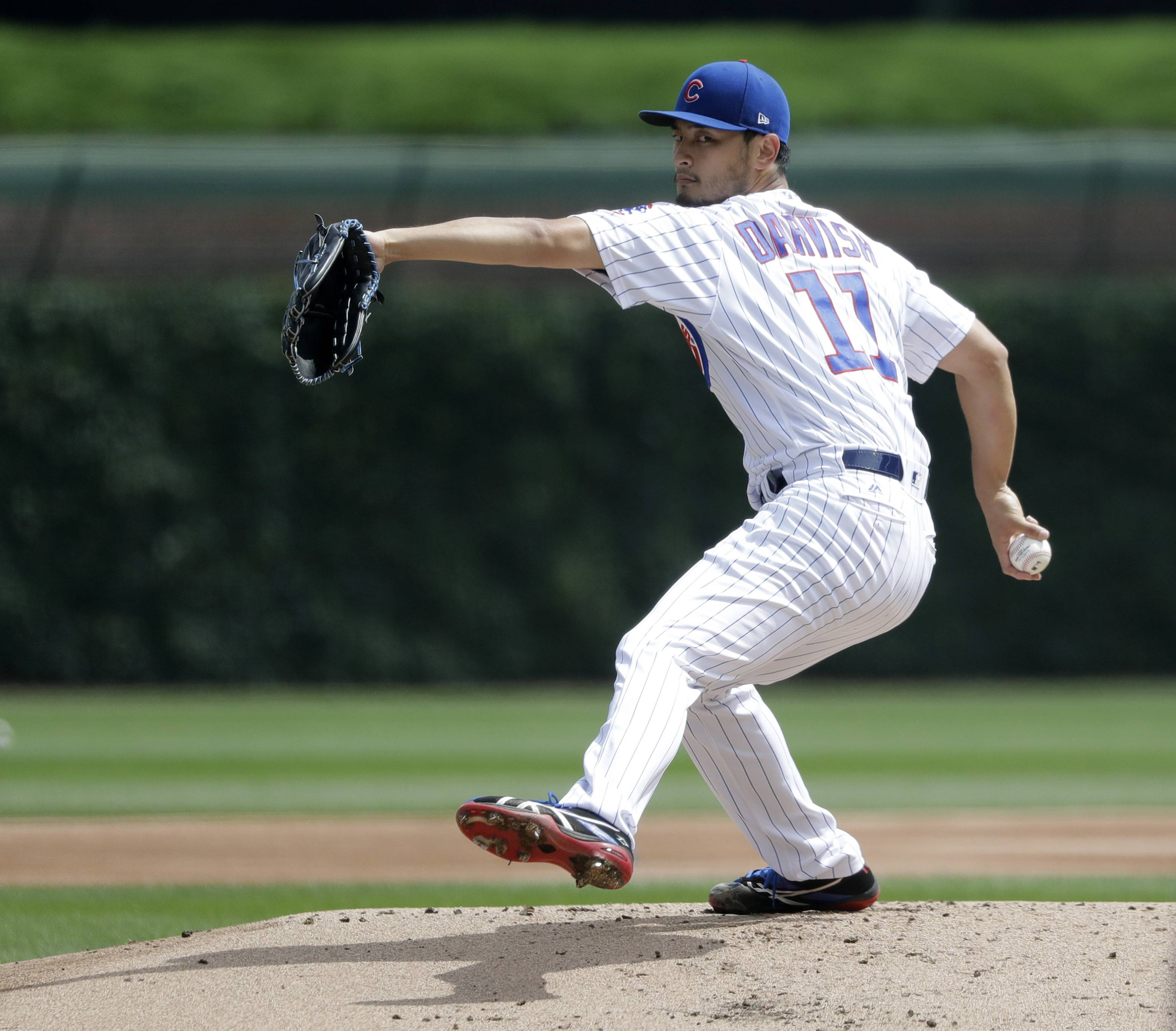 Chicago Cubs starting pitcher Yu Darvish pitches a simulated game before a baseball game between the Cubs and the Los Angeles Dodgers Wednesday, June 20, 2018, in Chicago. (AP Photo/Charles Rex Arbogast)
