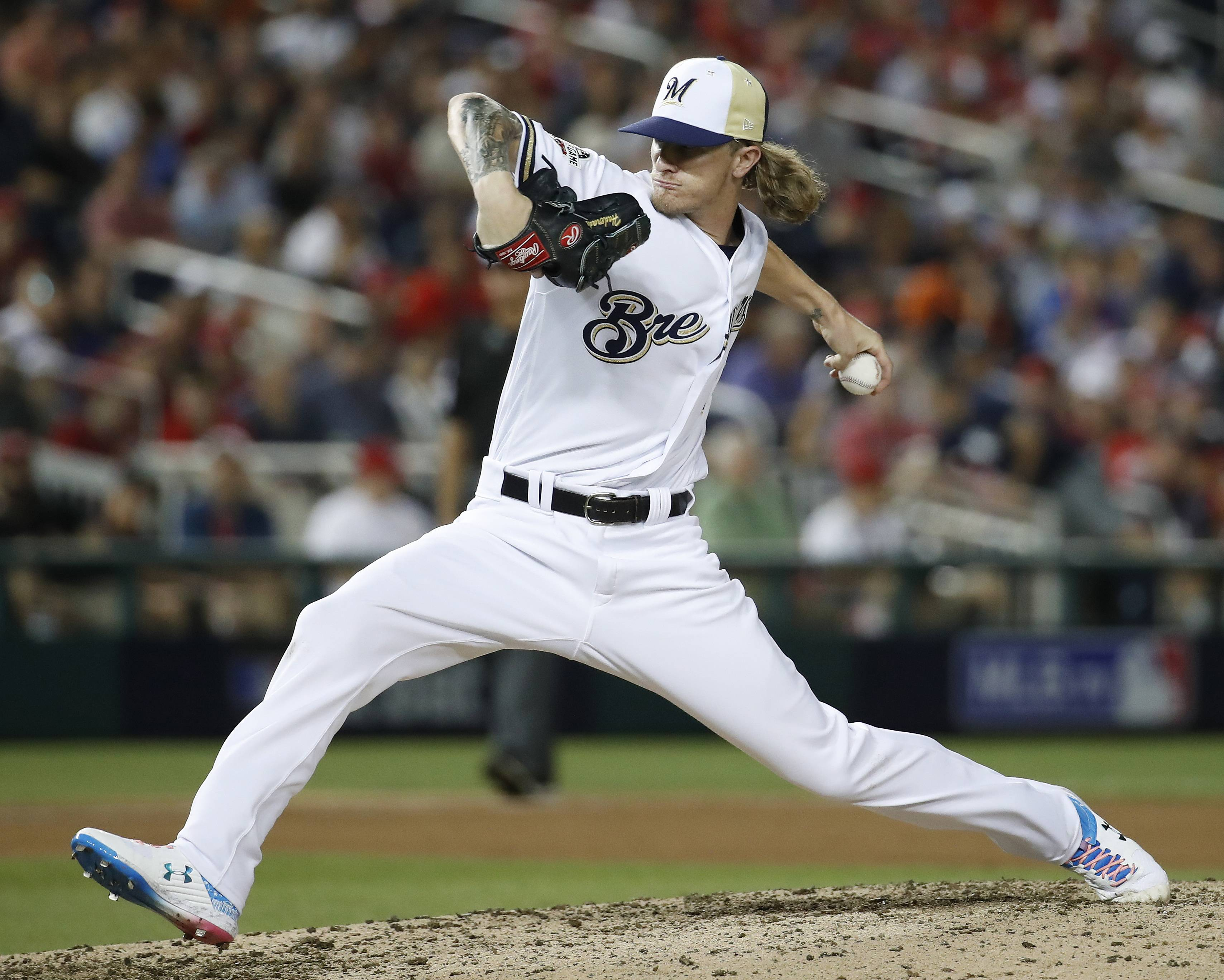 Milwaukee Brewers pitcher Josh Hader throws Tuesday during the eighth inning of the All-Star Game in Washington.