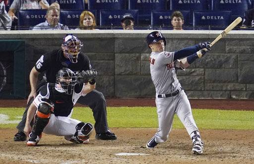 Houston Astros Alex Bregman (2) hits a solo home run during the 89th MLB baseball All-Star Game, Tuesday, July 17, 2018, at Nationals Park, in Washington. The American League won 8-6. (AP Photo/Carolyn Kaster)