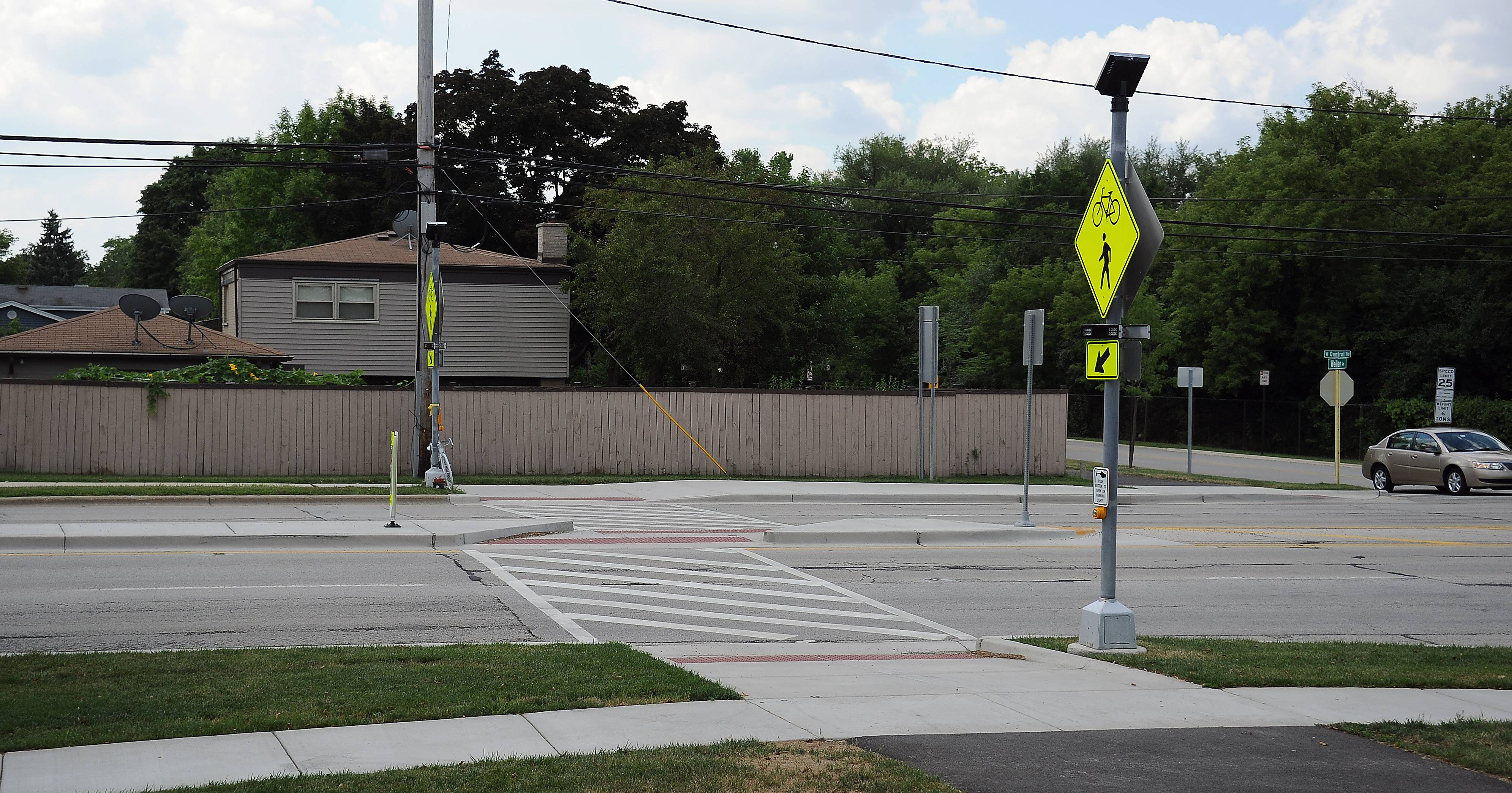 The crosswalk at Central Road and Melas Park is one of several in Mount Prospect that would get a safety makeover under plans unveiled by village officials.