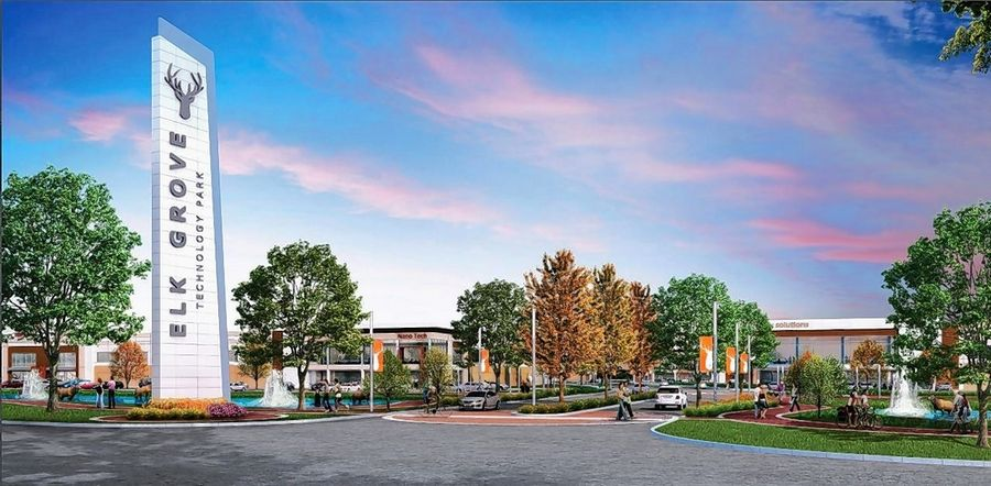 A conceptual drawing shows plans for the Elk Grove Technology Park proposed for the undeveloped Busse Farm land in Elk Grove Village. A groundbreaking for the estimated $1 billion project is scheduled for Wednesday.
