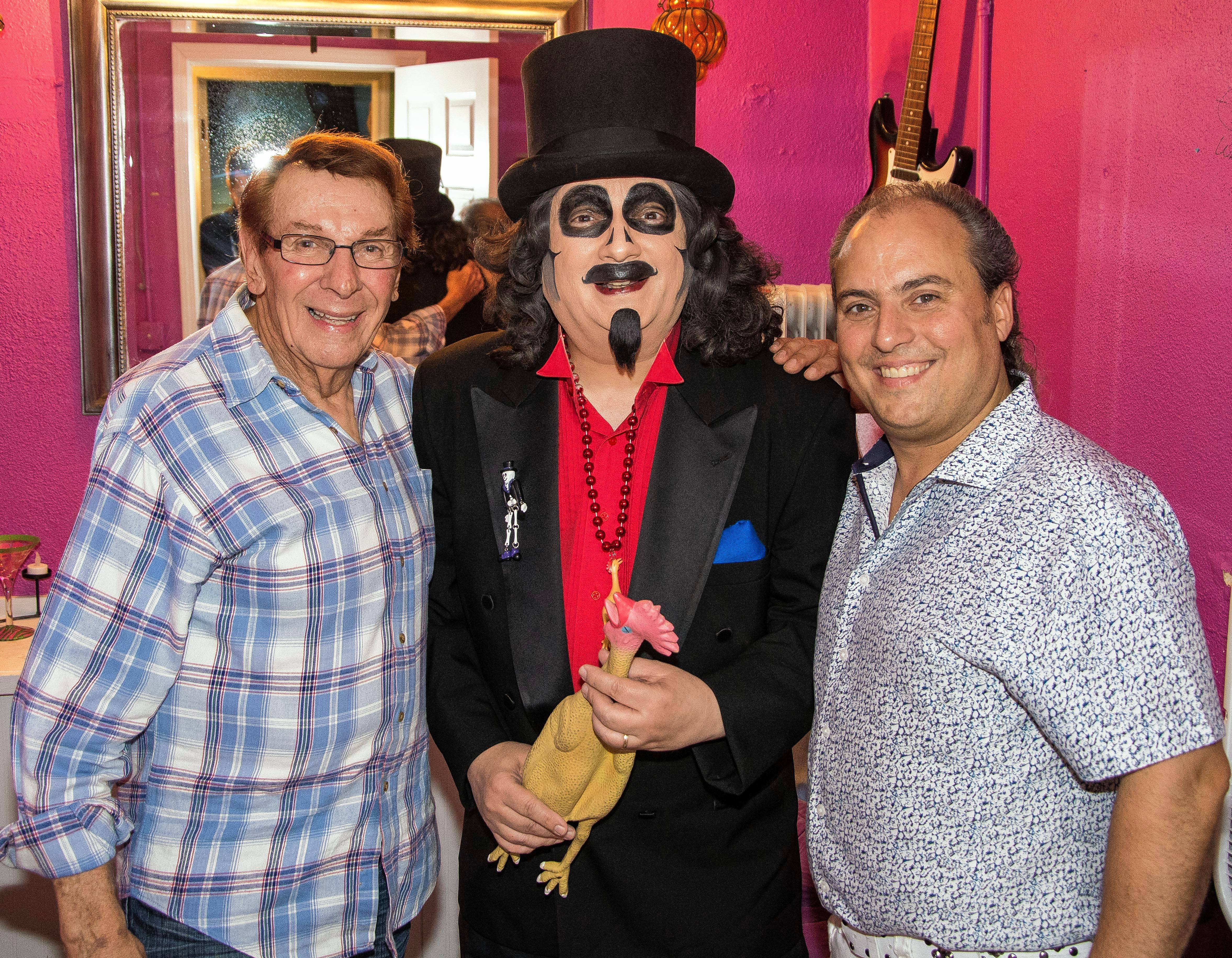 "Freddy ""Boom Boom"" Cannon, Svengoolie and Ron Onesti backstage at The Arcada Theatre in St. Charles."
