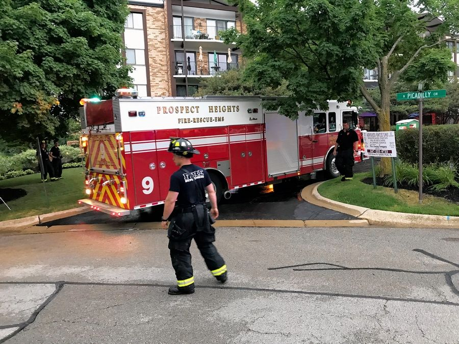 Crews tended to a fire Friday at an apartment complex on Yarmouth Place in Mount Prospect.