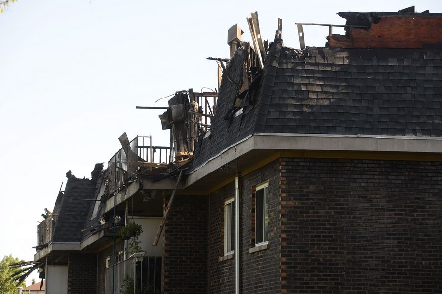 The aftermath of Wednesday's fire at the River Trails condominium complex in Prospect Heights. Officials confirmed Friday that a juvenile who would not be named accidentally started the fire.