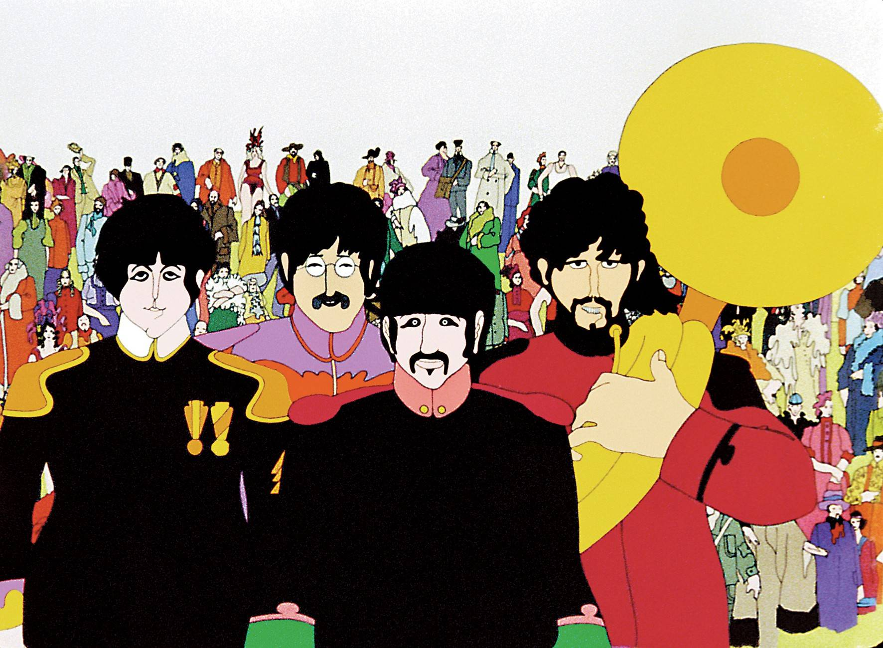 "The animated visages of The Beatles star in ""Yellow Submarine,"" which screens Monday, July 23, in Downers Grove to celebrate its 50th anniversary."