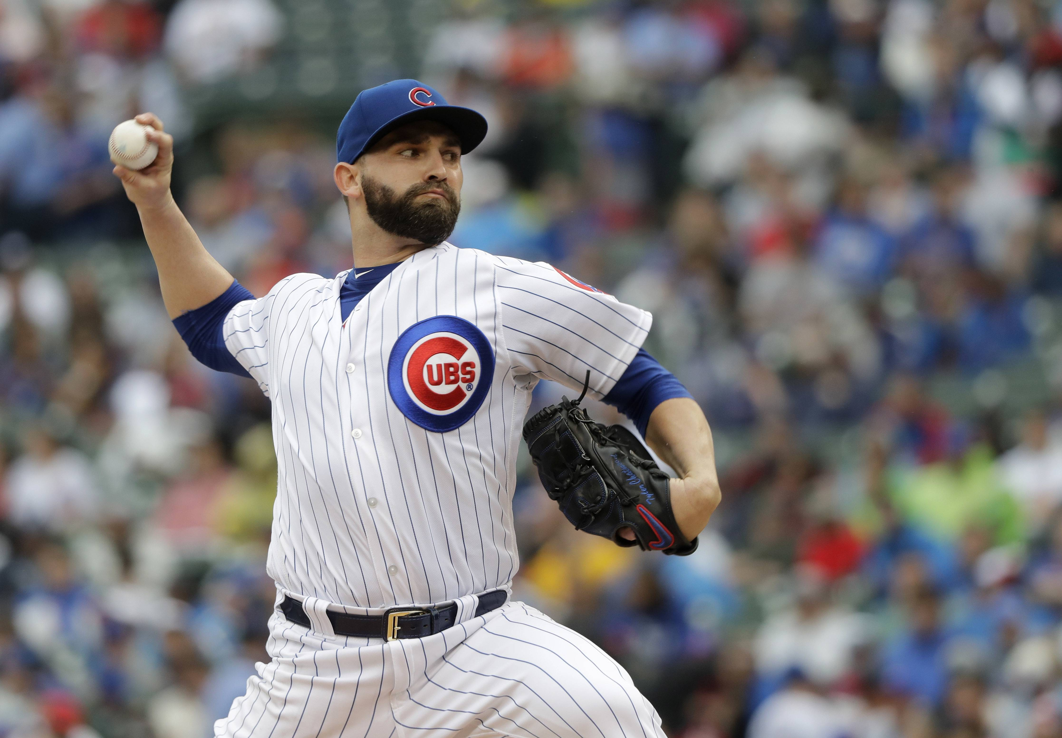 Chicago Cubs starting pitcher Tyler Chatwood delivers during the first inning against the St. Louis Cardinals Saturday in Chicago.