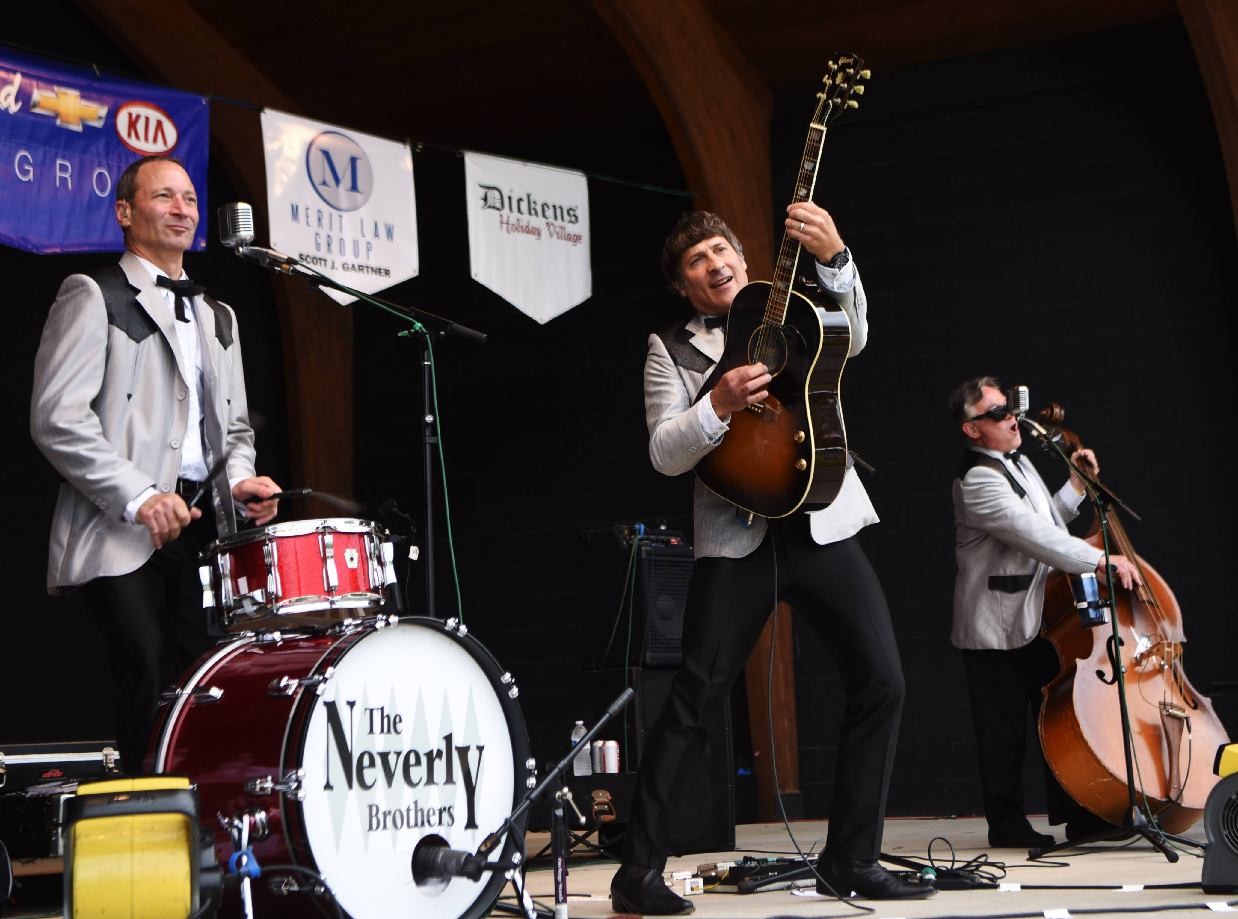 The Neverly Brothers, including Kegham Giragosian on drums, his brother, Kevin, on guitar and Rocco Phipps on bass perform during the Taste of Antioch Saturday.