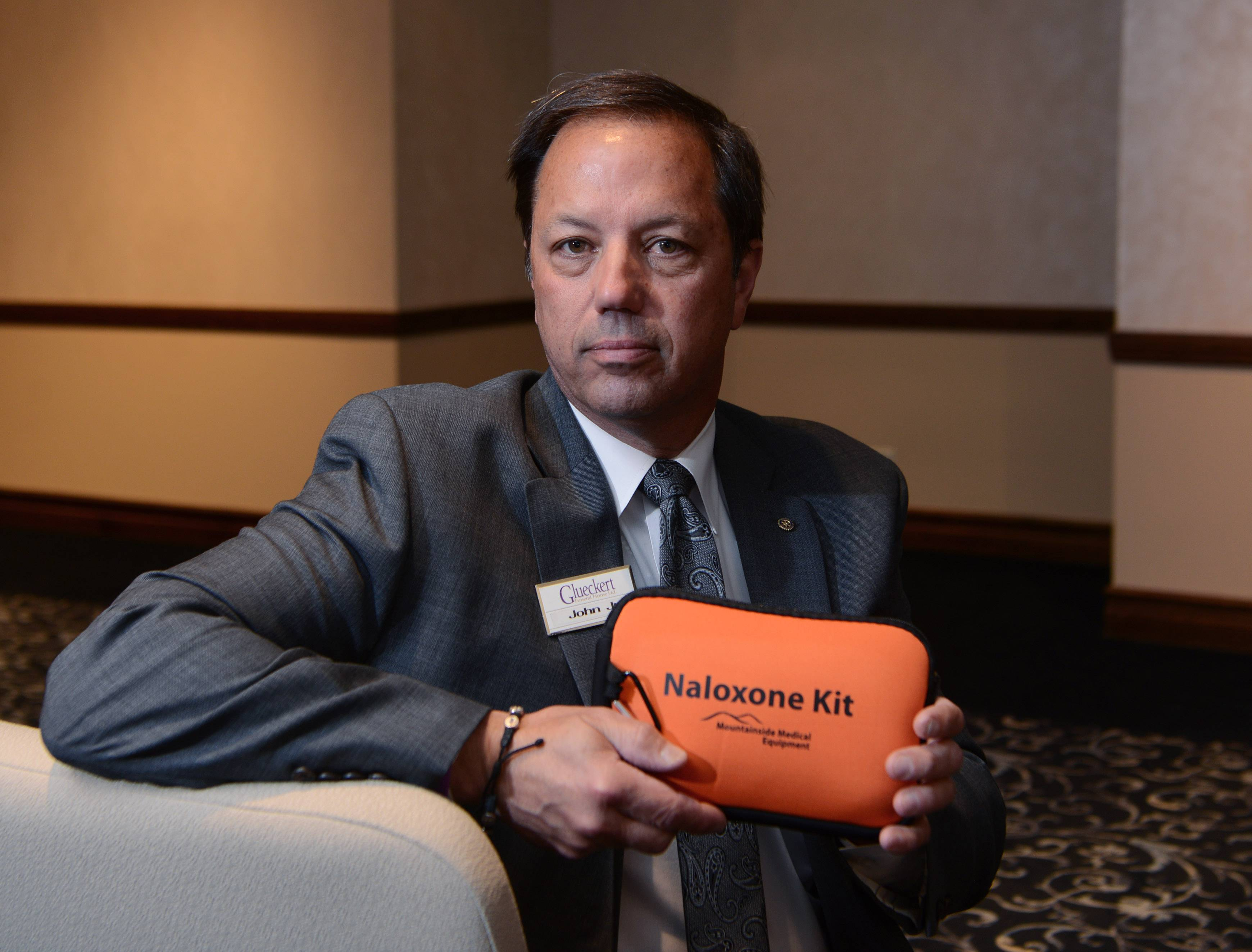 Funeral director and owner John Glueckert Jr. of Glueckert Funeral Home in Arlington Heights keeps naloxone with other first aid supplies inside his business in case an opioid overdose occurs during a funeral or wake.