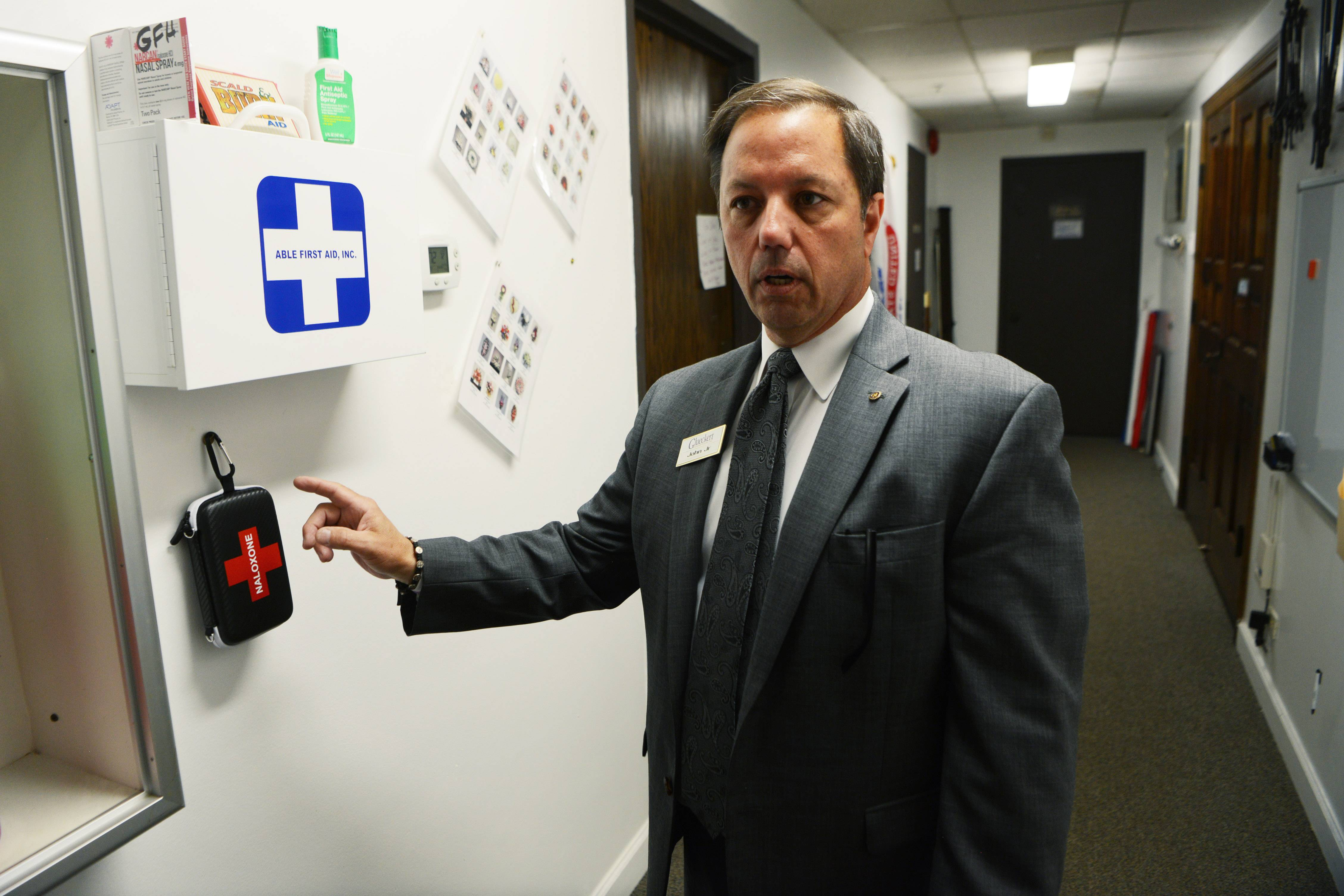 Funeral director and owner John Glueckert Jr. of Glueckert Funeral Home in Arlington Heights keeps two naloxone opioid overdose response kits handy after hosting a training on use of the reversal drug during the wake of a 21-year-old who died from a heroin overdose.