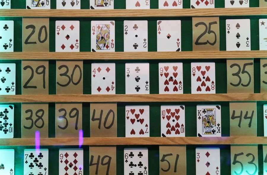 The board of cards used in the Queen of Hearts raffle drawing at McHenry VFW Post 4600 in McHenry.
