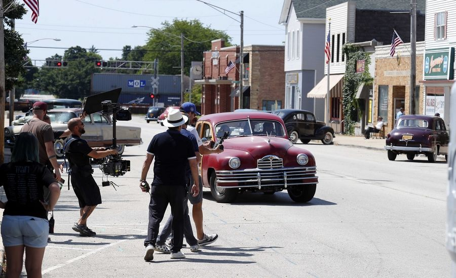 "Crews run a rehearsal as Elburn is transformed into the 1950s for an HBO project Wednesday as filming for ""Lovecraft Country"" began."