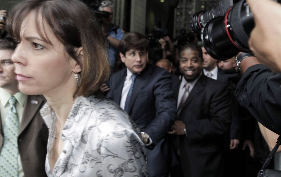 Patti Blagojevich, with her husband former Gov. Rod Blagojevich, leaves the federal court building in Chicago. Patti Blagojevich went on Fox News Tuesday and blamed former President Barack Obama for her husband being found guilty.