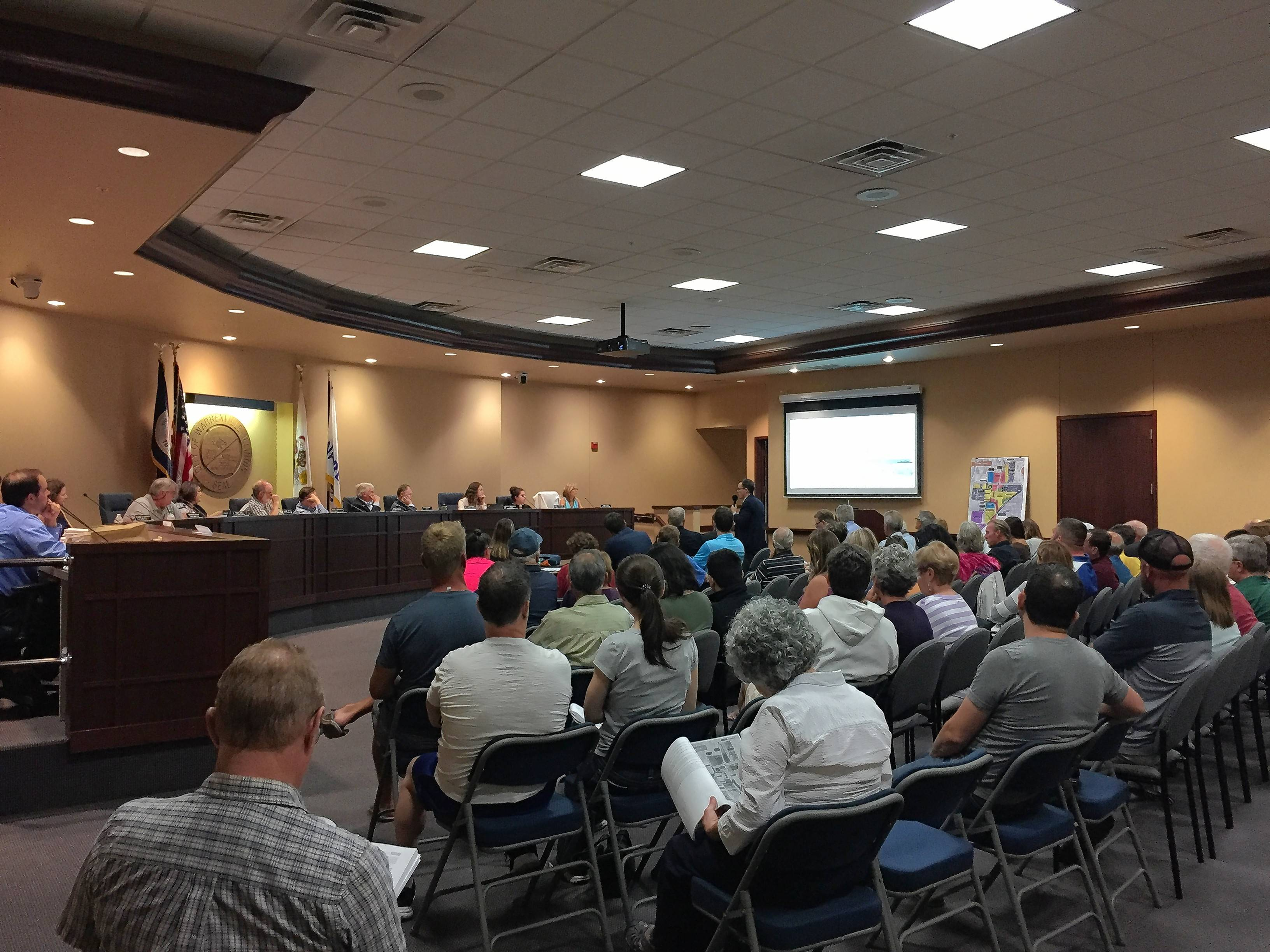 Roughly 45 residents attended a Thursday night meeting in Warrenville, where the city's plan commission recommended approval of a mixed-use project for nearly 33 acres along Route 59.
