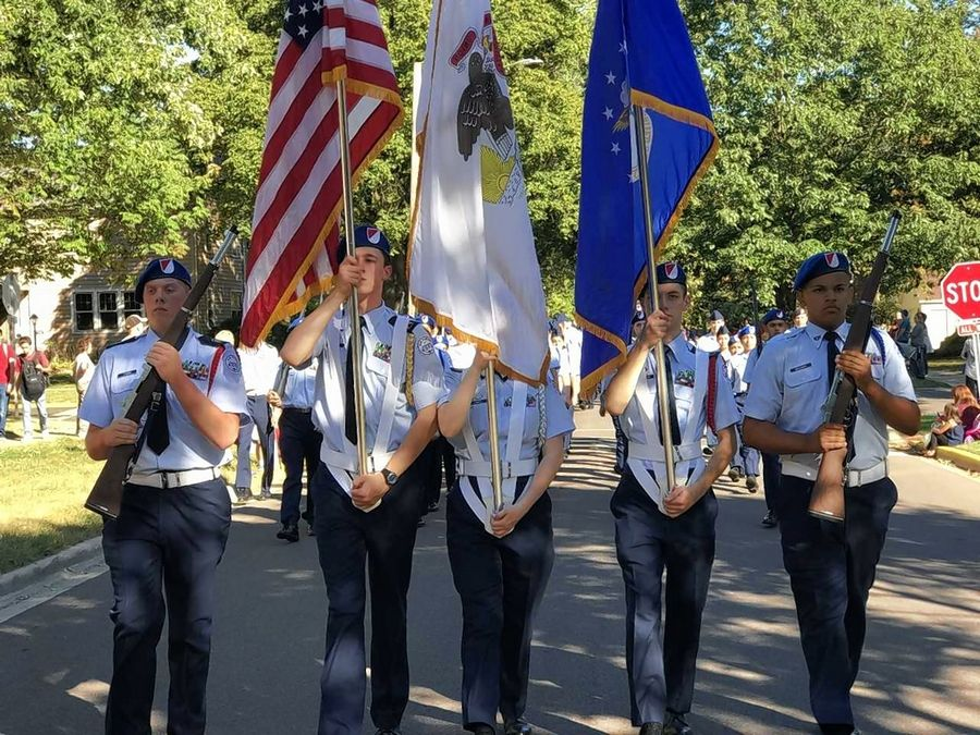 West Aurora High School's Air Force ROTC Color Guard presents colors during the school's homecoming parade last September. West Aurora and Bolingbrook high schools are the only suburban districts and among only 14 schools statewide to have an Air Force ROTC program.