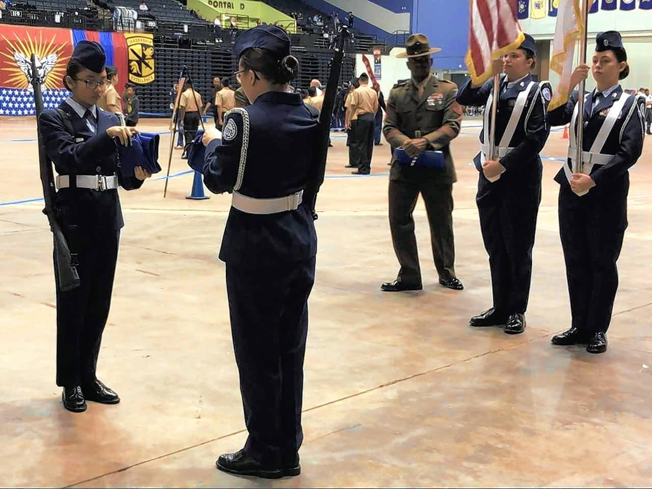 West Aurora High School's Air Force ROTC Lady Blackhawks Color Guard competes at nationals in May. West Aurora and Bolingbrook high schools are among only 14 schools statewide to have an Air Force ROTC program. Elgin Area School District U-46 is considering starting an ROTC program though officials have not discussed what branch of the military to pursue.