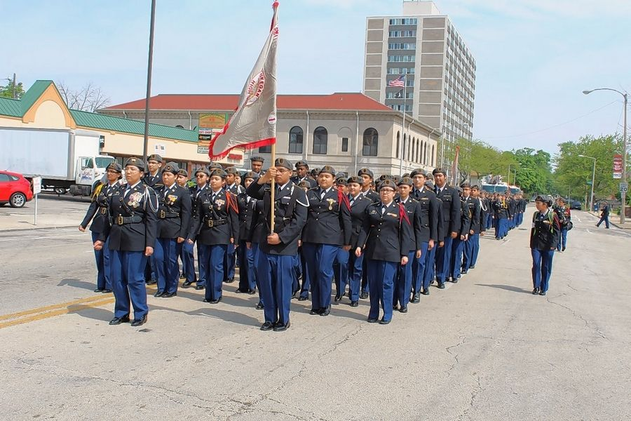 Waukegan High School's Army Reserve Officers' Training Corps cadets march in the city's Memorial Day parade. The school's ROTC program, which emphasizes leadership and good citizenship, is nearly 100 years old.
