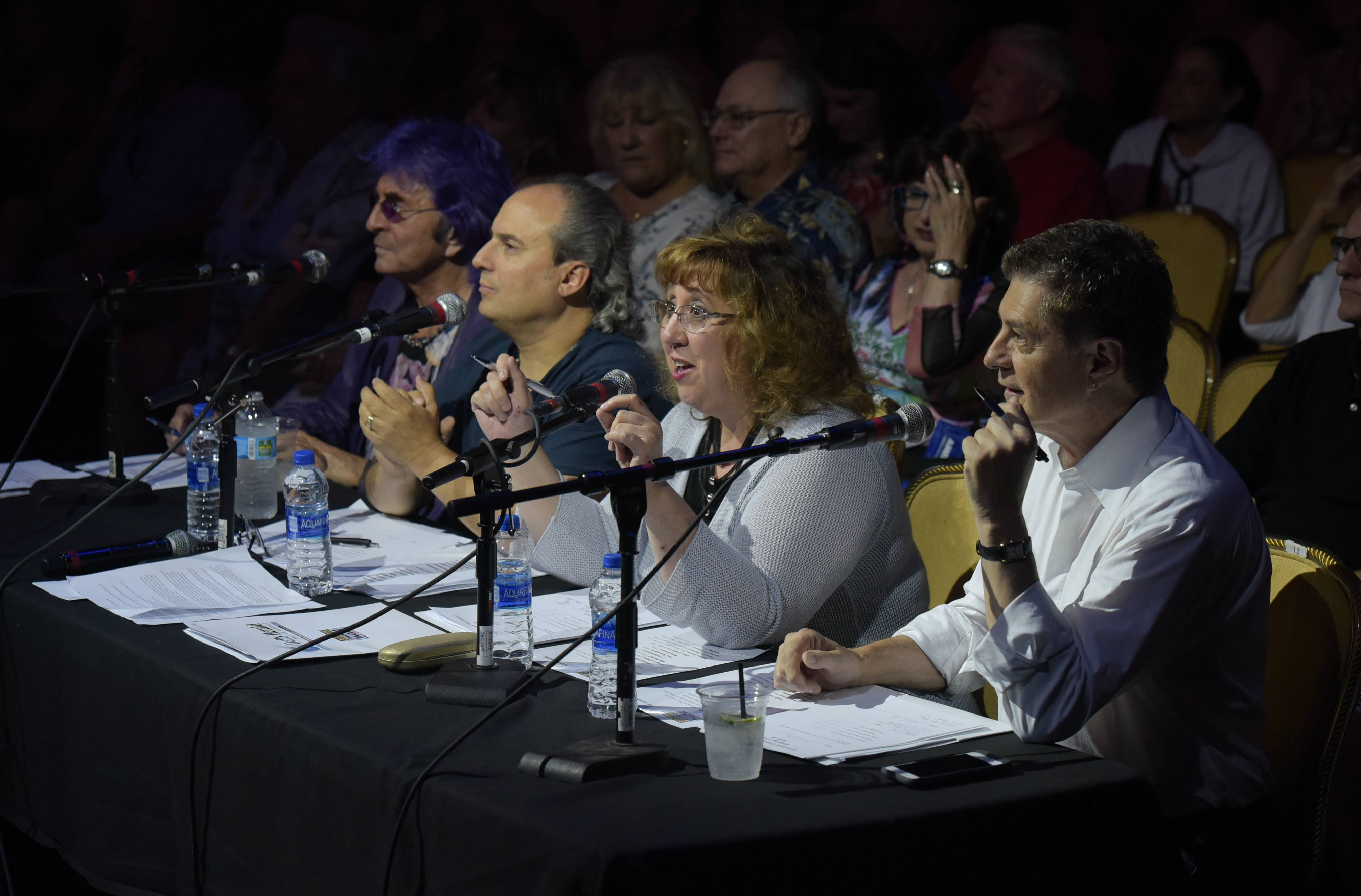 Jim Peterik, Ron Onesti, Barbara Vitello and Carl Giammarese judge the semifinals of the 2018 Suburban Chicago's Got Talent on Sunday at Arcada Theatre in St. Charles.